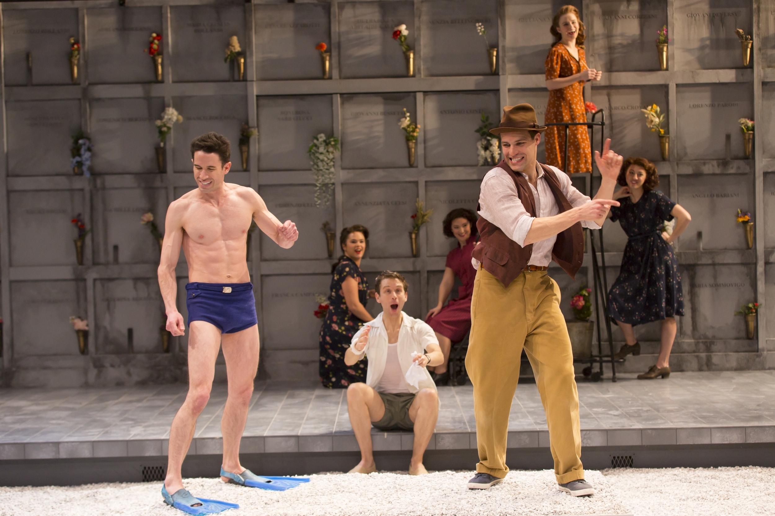 Wyatt Fenner (Mercutio), Alex Hanna (Benvolio), Chris Ghaffari (Romeo) and Ensemble