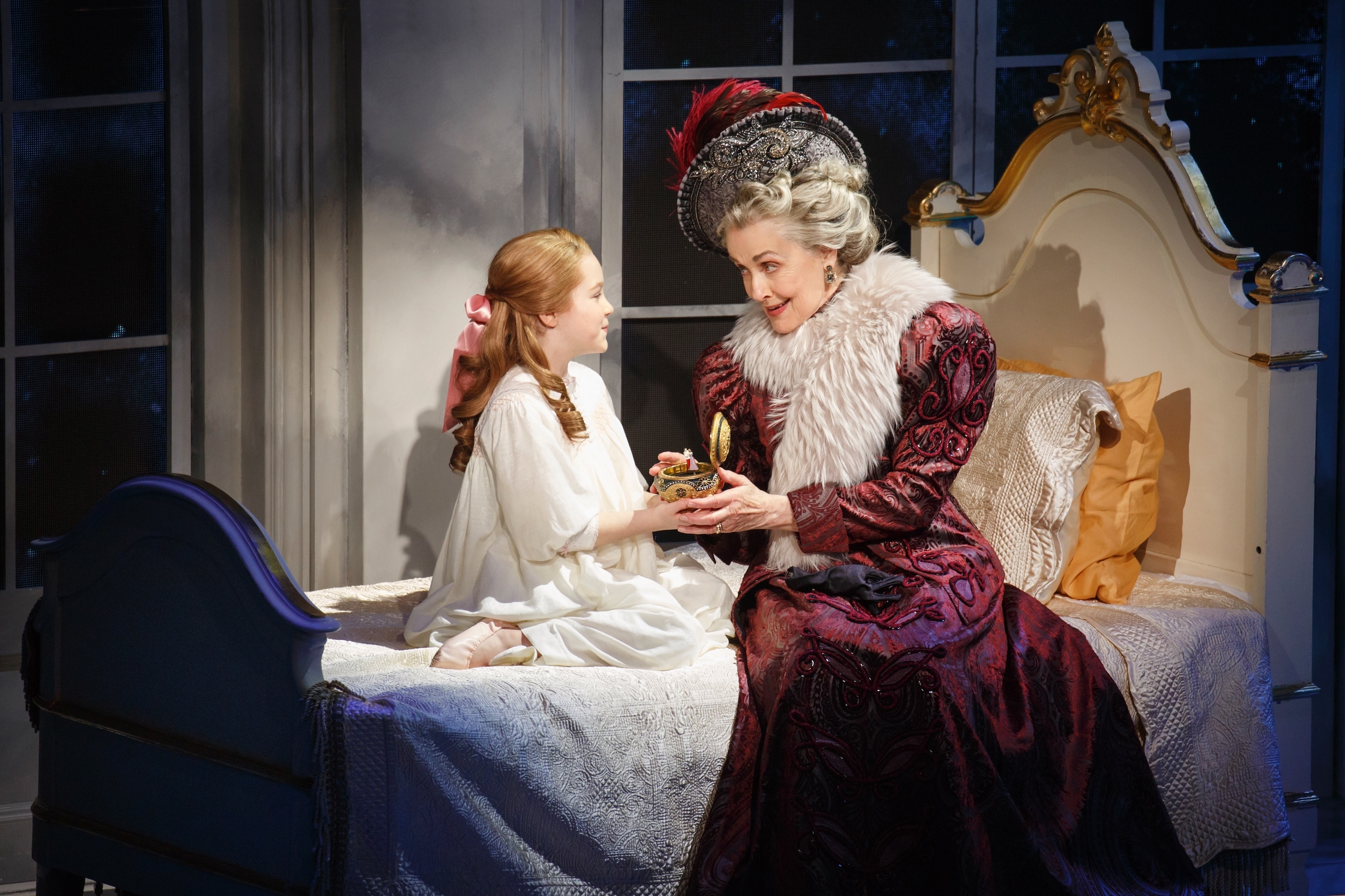 Anastasia, age 6 (Nicole Scimeca), Dowager Empress (Mary Beth Peil) (photo: Joan Marcus)