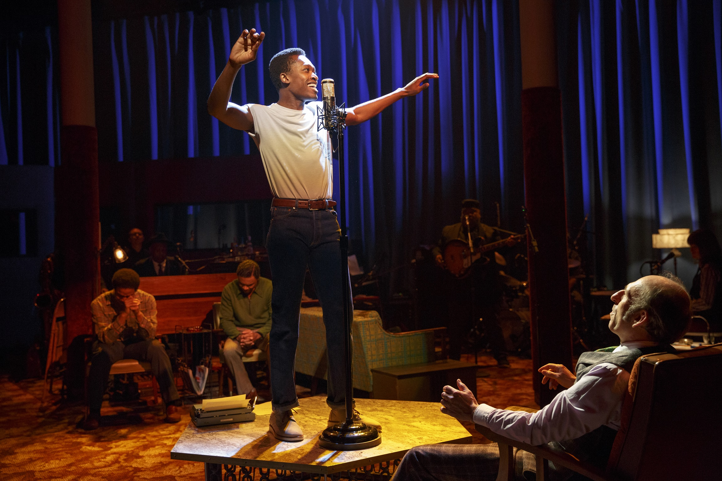 Marty (Ato Blankson-Wood), center, Byron Blackwell (David Cale), foreground (photo: Joan Marcus)