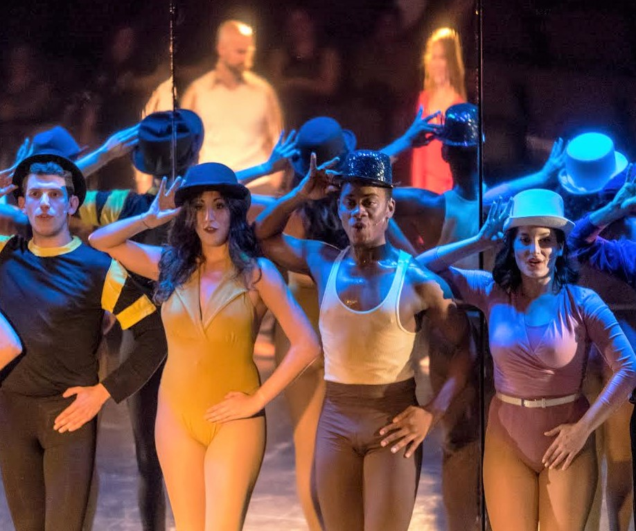 Greg (Max Weinstein), Sheila (Tracey Mellon), Richie (Ronnie Bowman, Jr.), Judy (Cara Rashkin), and the cast of A Chorus Line (photo: Rich Wagner)