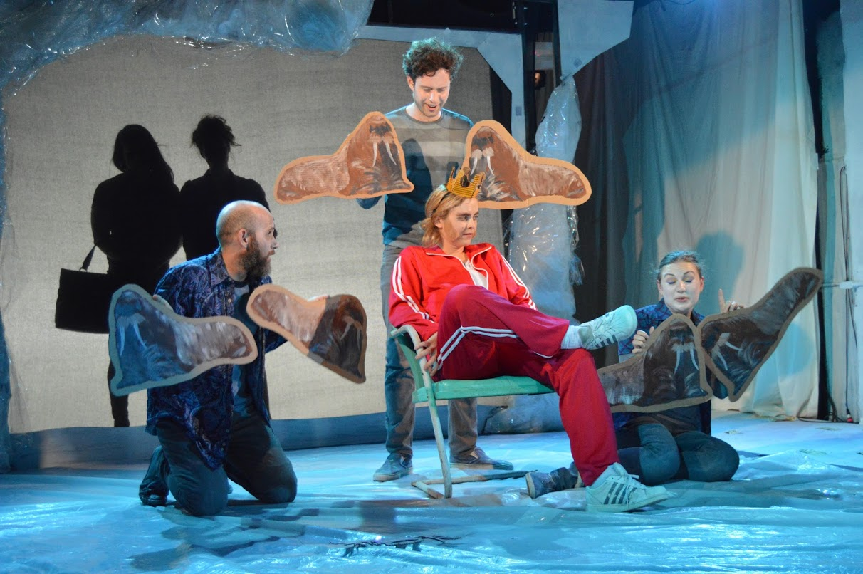 Roy (Marie Botha, seated) with walrus henchman (Yagil Eliraz, Patrick Foley, Rebecca Hampe) and silhouettes of Rena (Ricardo Davila) and Linda (Emily Reeder) (photo: Kristian Rasmussen)