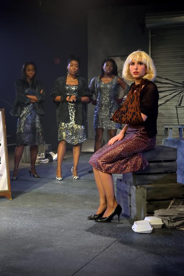 Crystal (Cherise Clarke), Ronette (Famecia Ward), Chiffon (Brandi Porter); foreground: Audrey (Emily Kron) (photo: Meredith Atkinson)