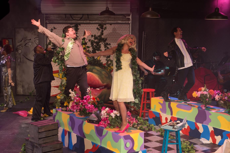 Ronette (Famecia Ward), voice of Audrey II (Rasheem Ford), Seymour (Steven Mooney), Audrey (Emily Kron), Orin (Aidan Eastwood) (photo: Rich Wagner)