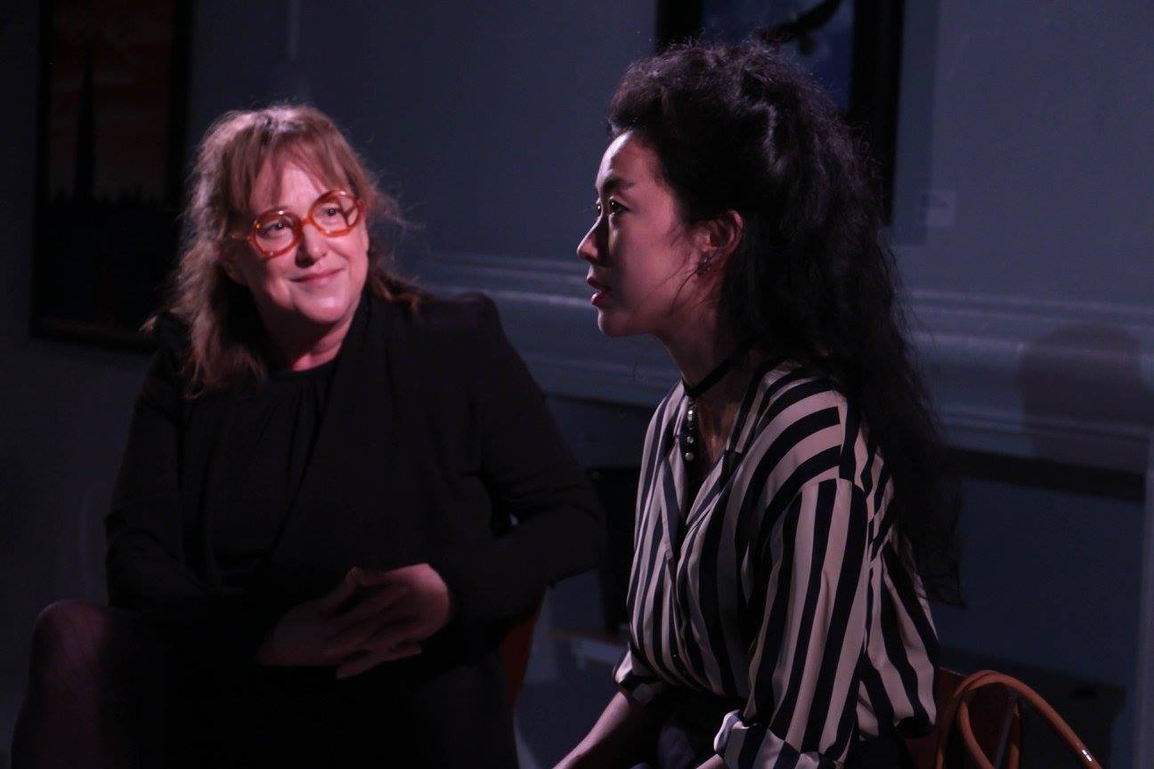 Interviewer (Elizabeth Harnett), Wang Min (Ashley Chang) (photo: Elizabeth Green)
