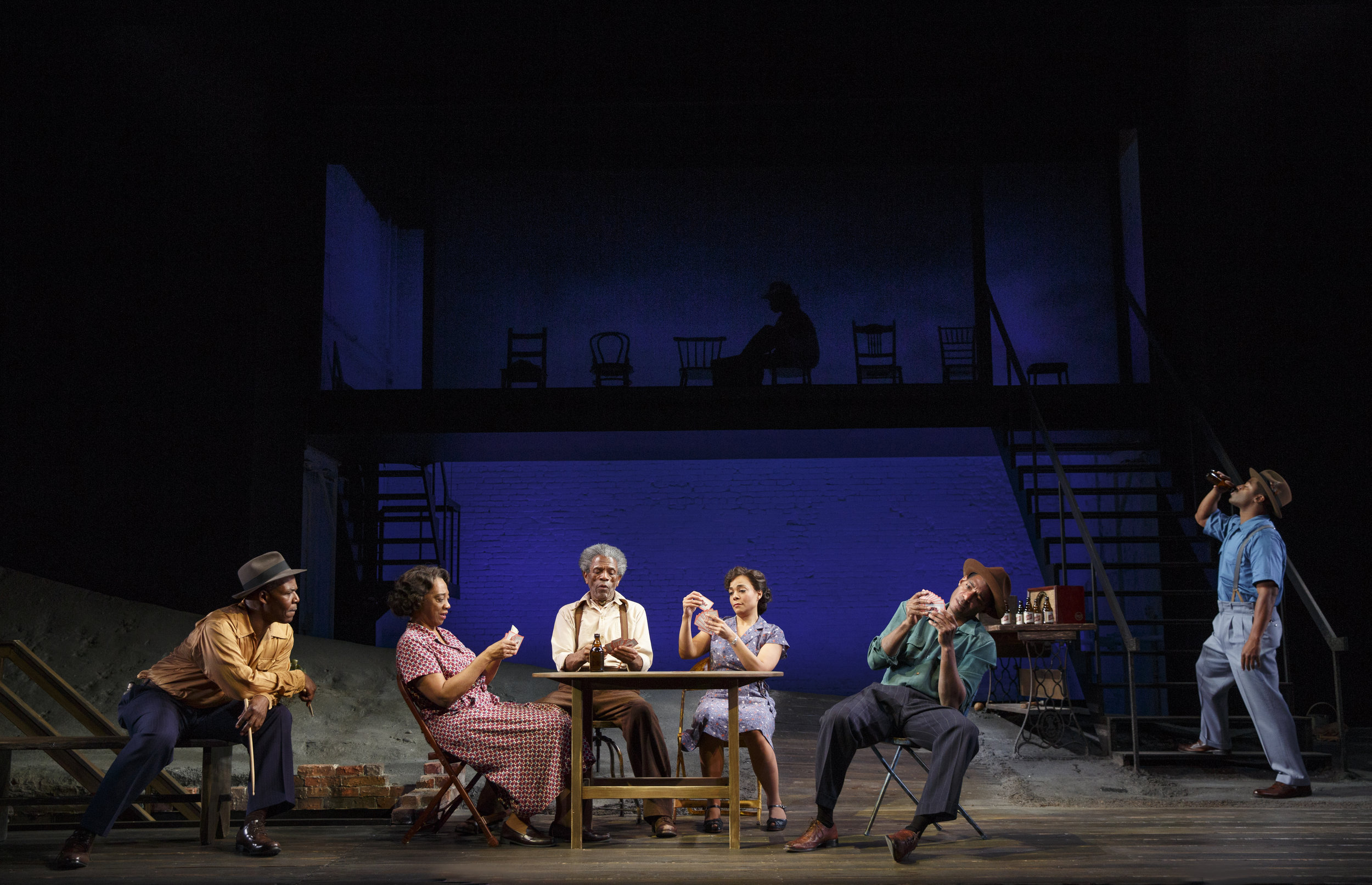 Red Carter (Danny Johnson), Louise (Stephanie Berry), Hedley (Andre De Shields), Vera (Rachel Leslie), Floyd (Billy Eugene Jones), Canewell (Wayne T. Carr)  (photo: Joan Marcus)