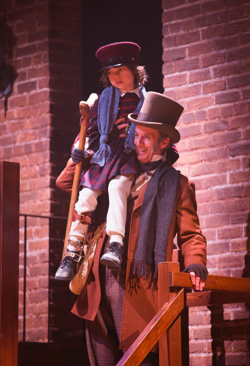 Tiny Tim (Fred Thornley IV), Bob Cratchit (Robert Hannon Davis) (photo: T. Charles Erickson)