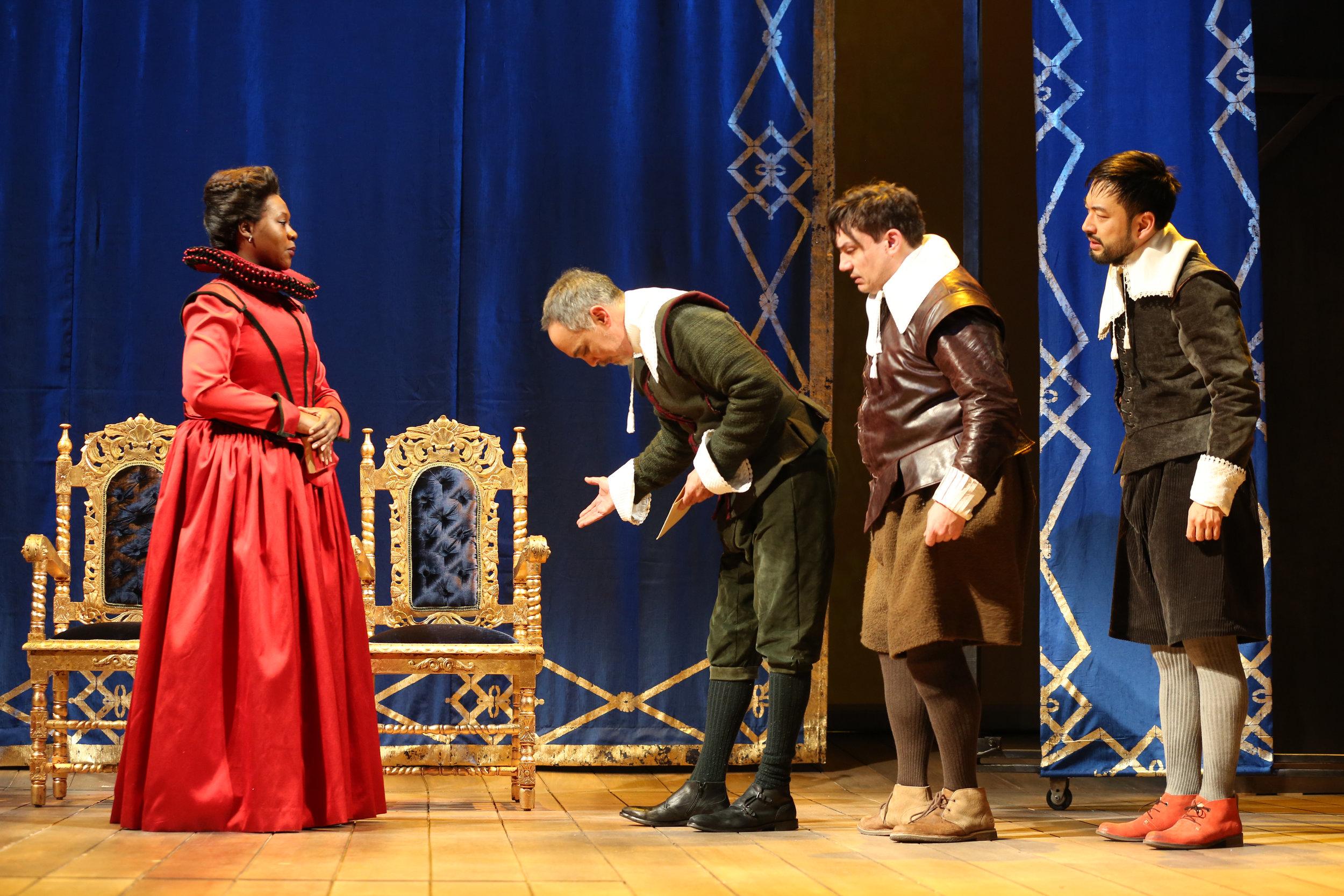 Anna Roos (Zenzi Williams), Burbage (Thom Sesma), Heminges (Christopher Ryan Grant), Shakespeare (Daisuke Tsuji) (photo: Joan Marcus)