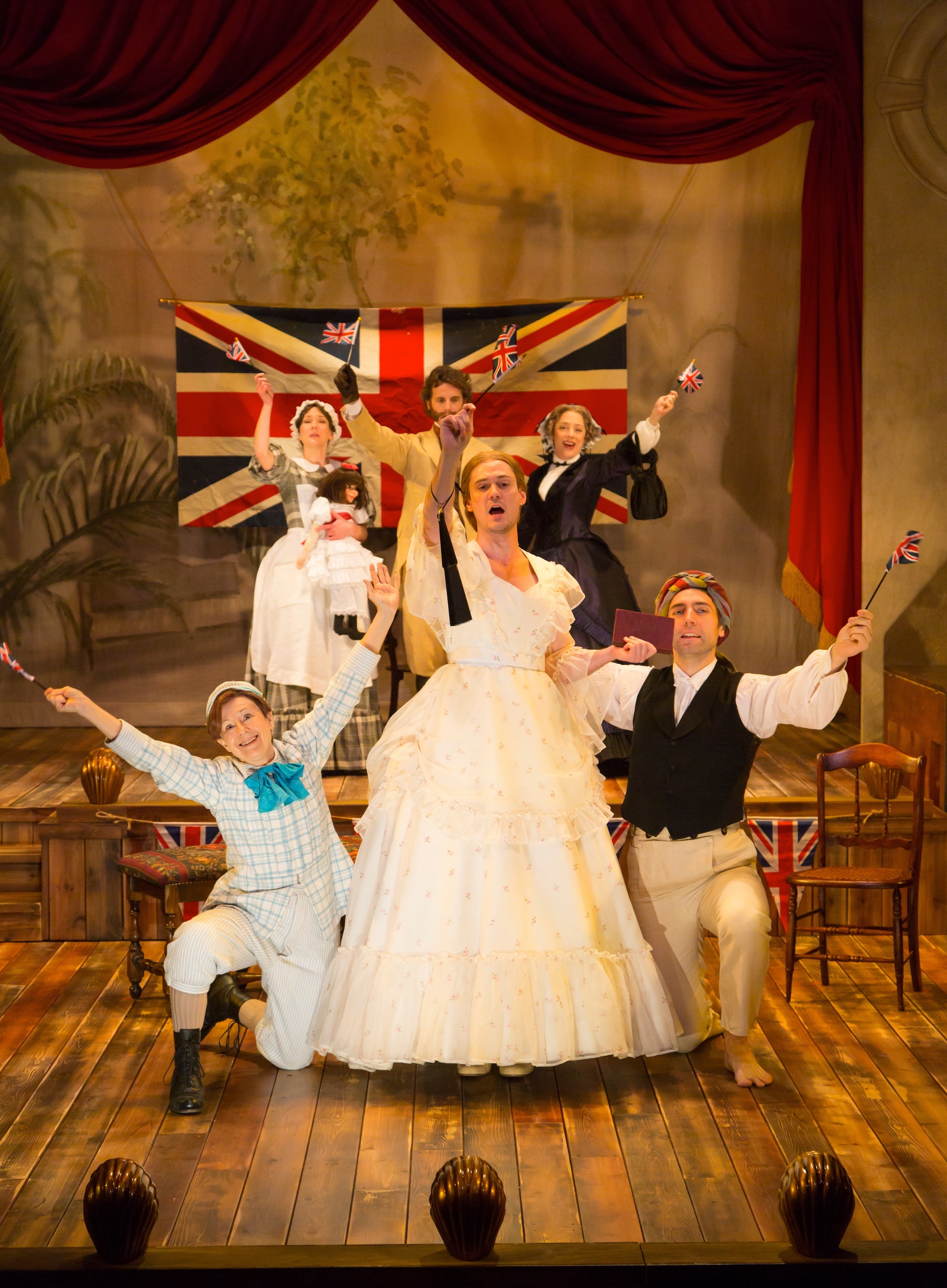 Front: Edward (Mia Dillon), Betty (Tom Pecinka), Joshua (William John Austin); Rear: Ellen (Sarah Lemp), Clive (Mark H. Dold), Maud (Emily Gunyou Halaas) (photo: T. Charles Erickson)