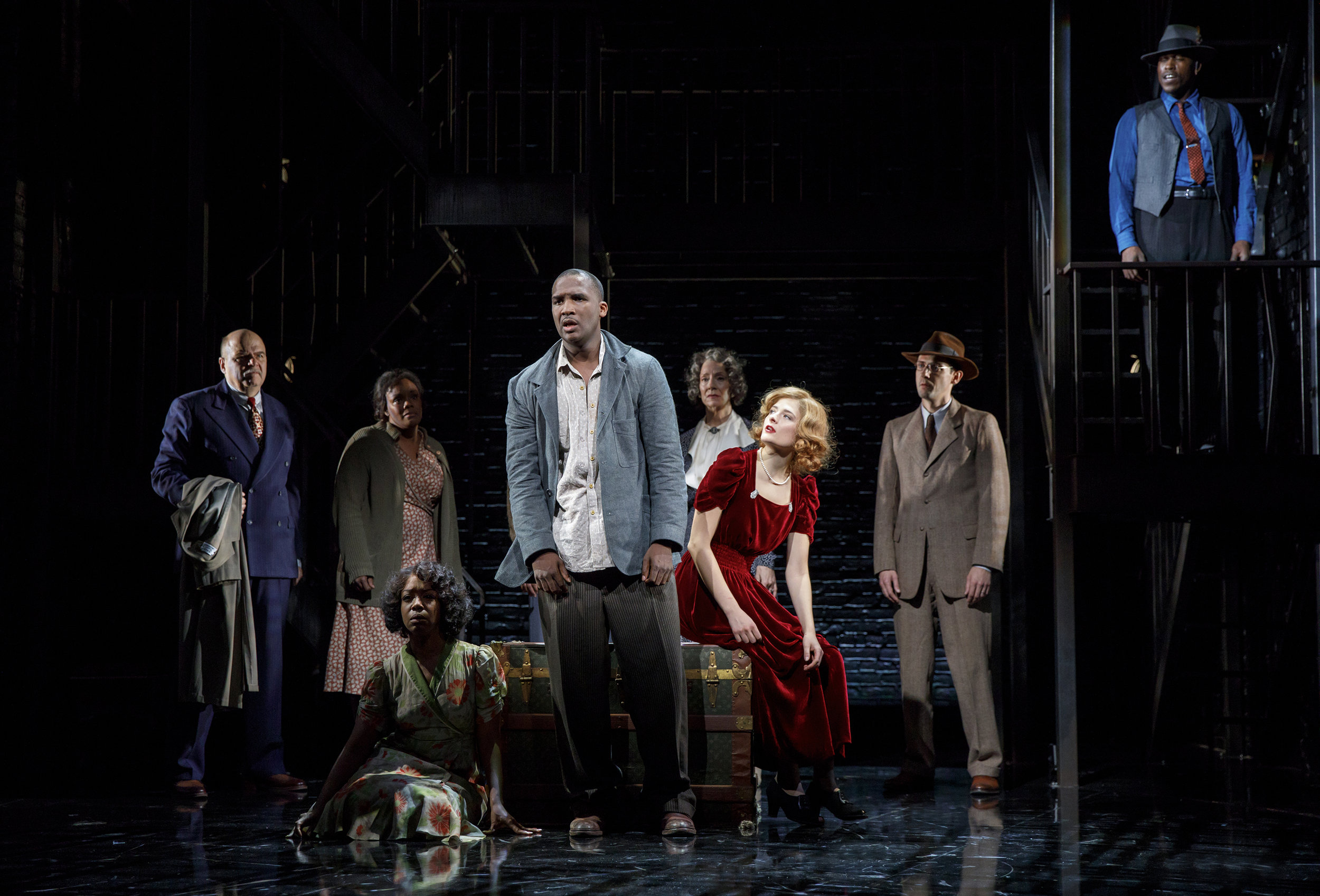 The cast of Native Son, left to right: Michael Pemberton, Rosalyn Coleman, Jessica Frances Dukes, Jerod Haynes, Carmen Roman, Louisa Jacobson, Joby Earle, Jason Bowen