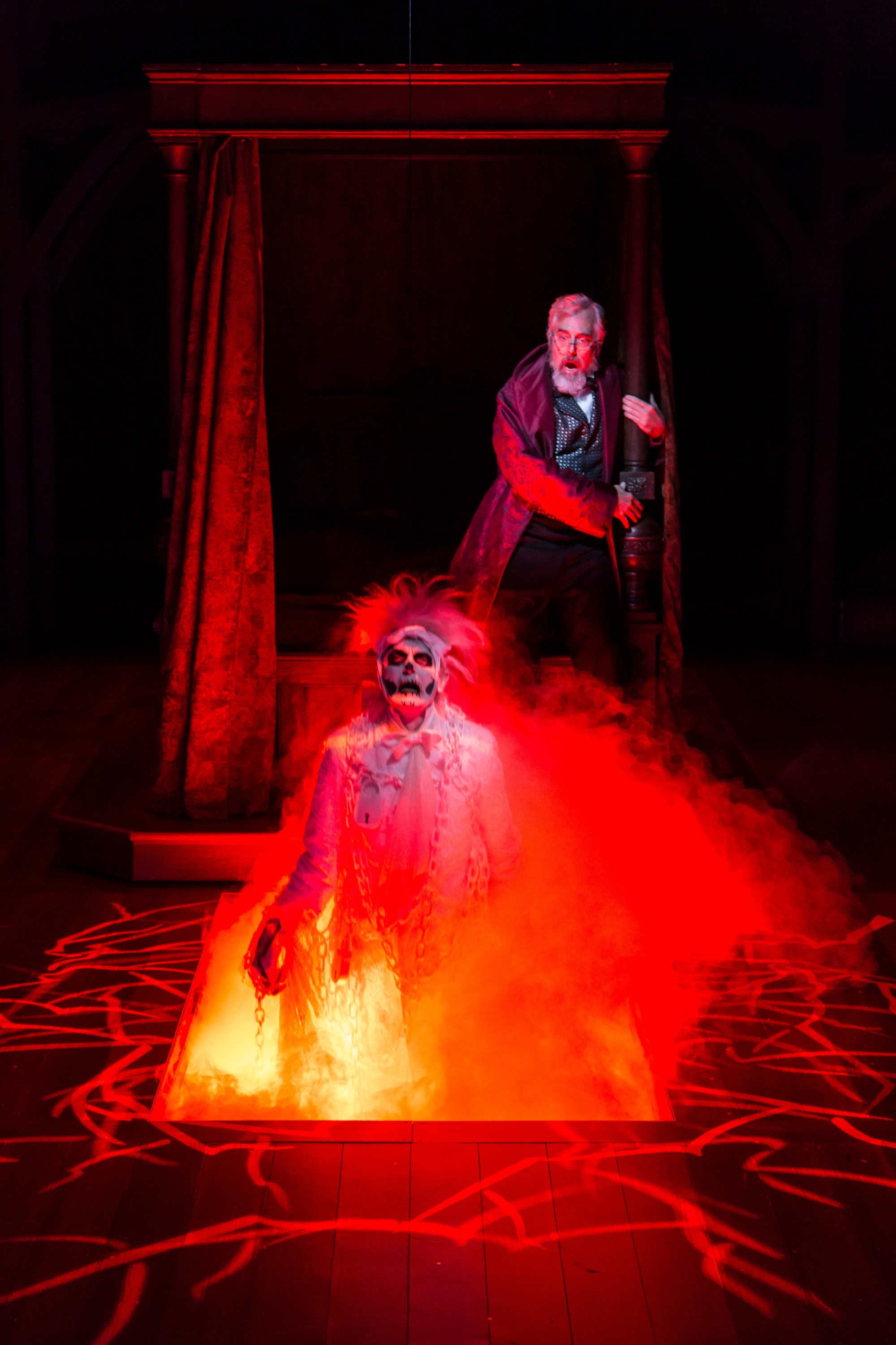 Marley's ghost (Noble Shropshire), Scrooge (Michael Preston) (photos: T. Charles Erickson)