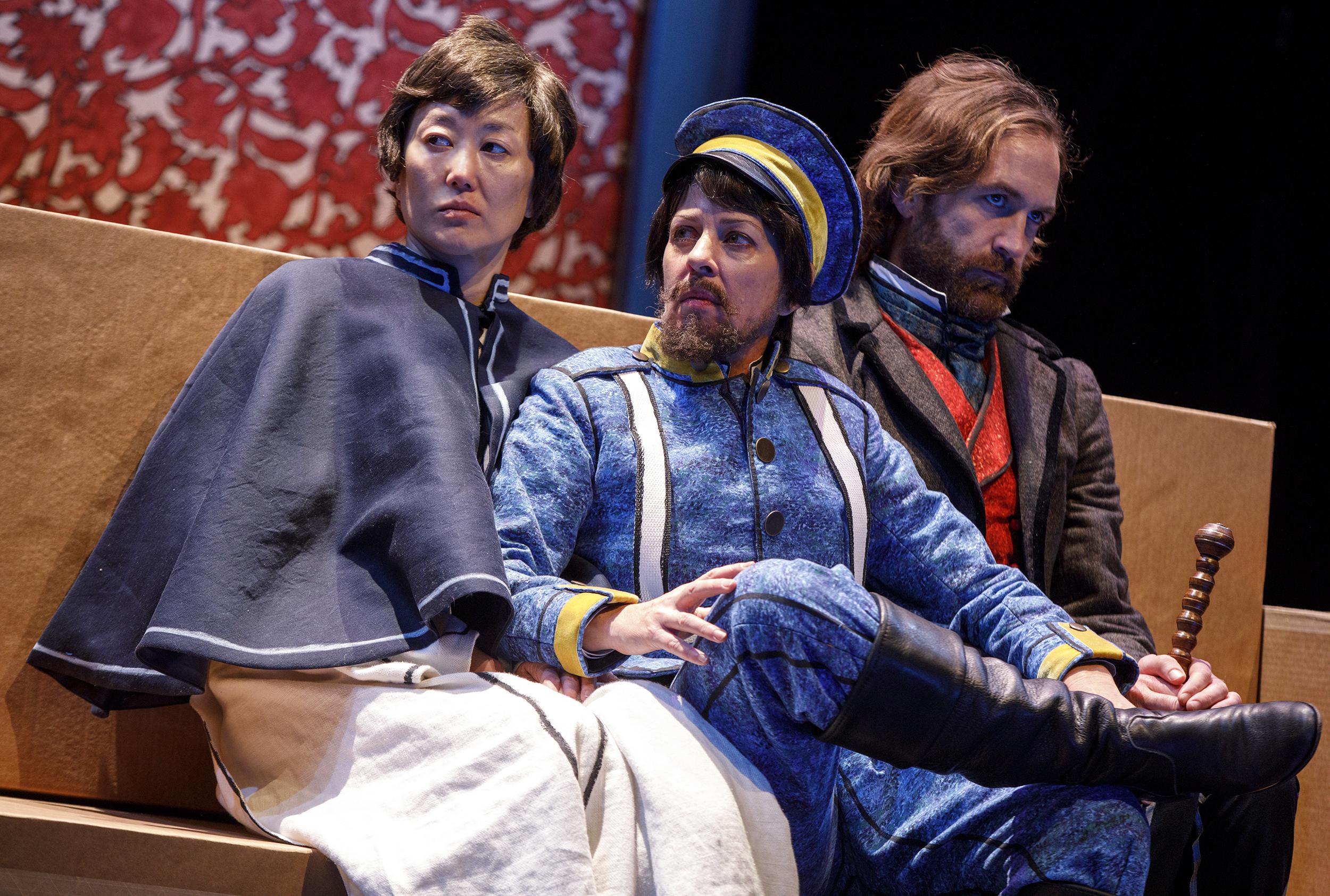 Alyosha (Mari Akita), Dmitri (Lana Lesley), Ivan (Thomas Graves) (photos by Joan Marcus)