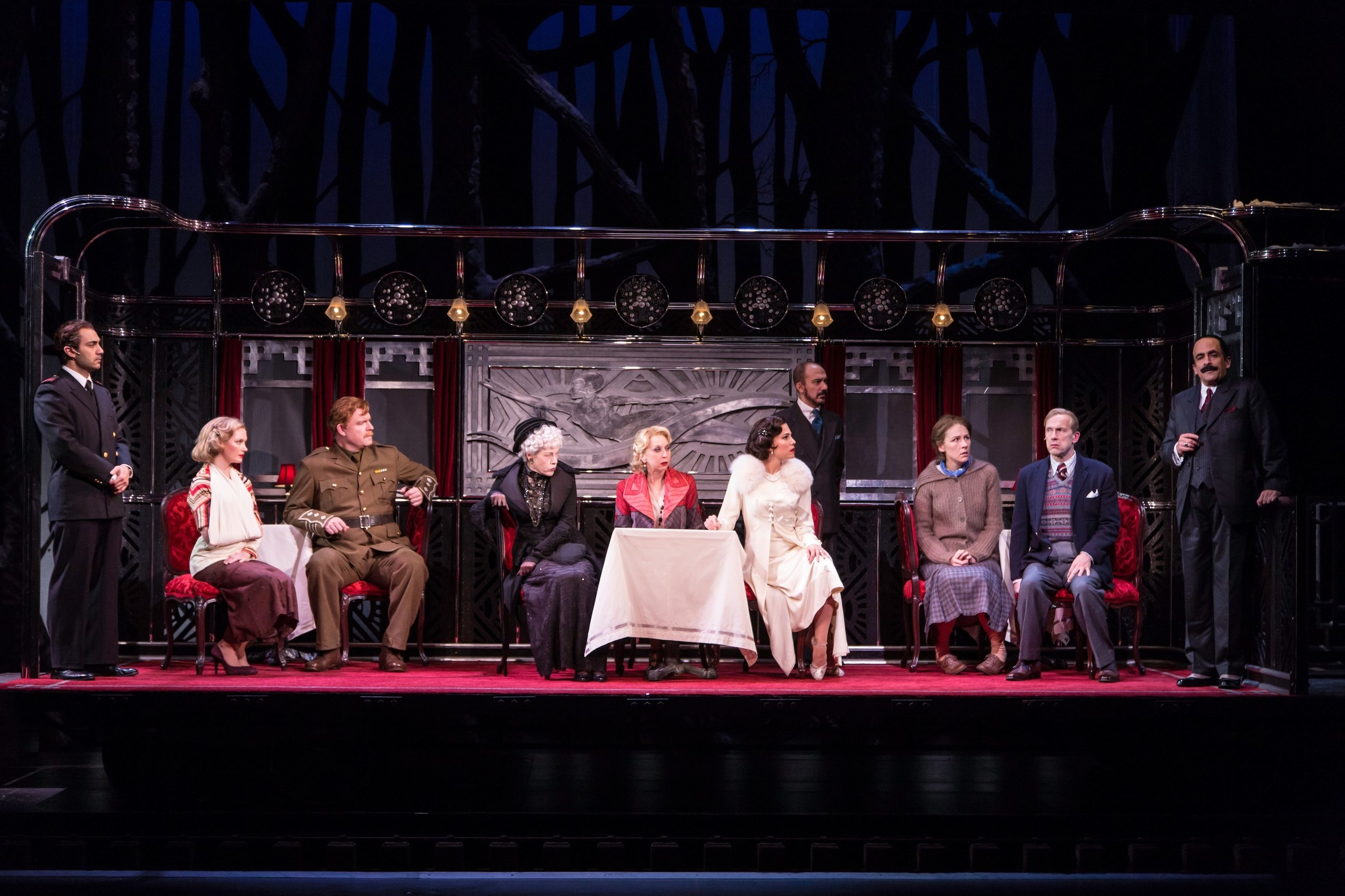The cast of Murder on the Orient Express, at Hartford Stage