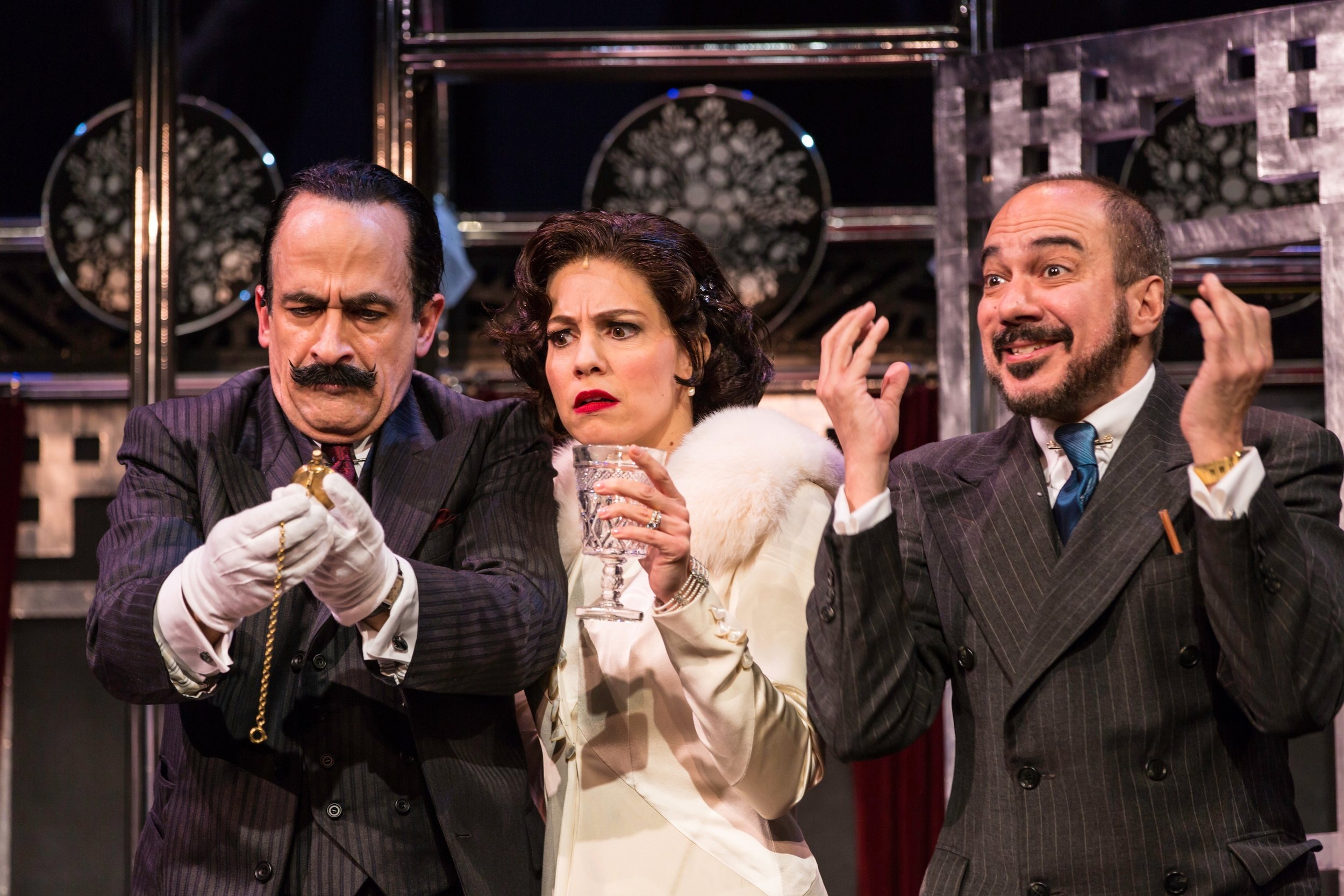 Hercule Poirot (David Pittu), Countess Andrenyi (Leigh Ann Larkin), M. Bouc (Evan Zes)