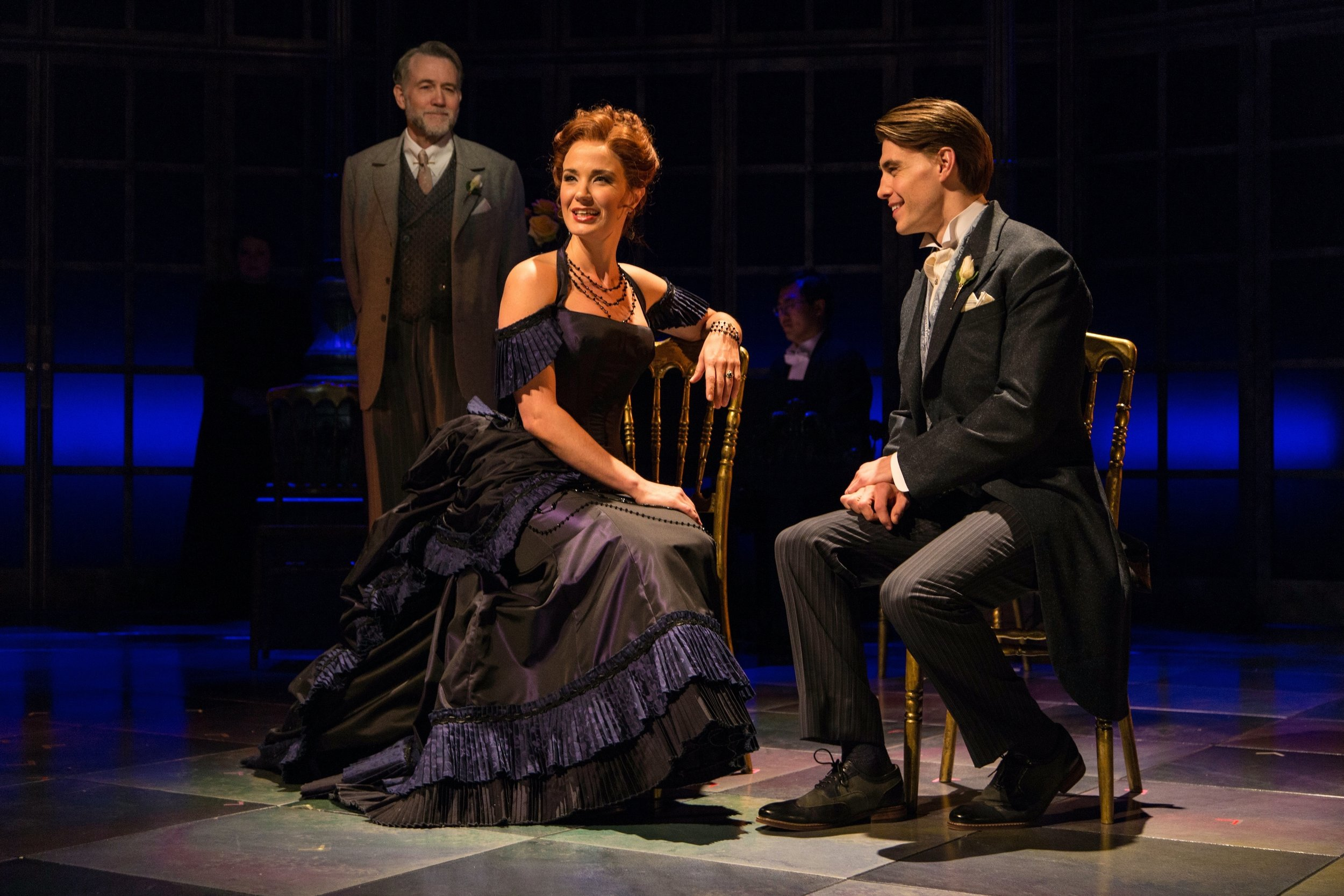 The Old Gentleman (Boyd Gaines), Countess Ellen Olenska (Sierra Boggess), Newland Archer (Andrew Veenstra)