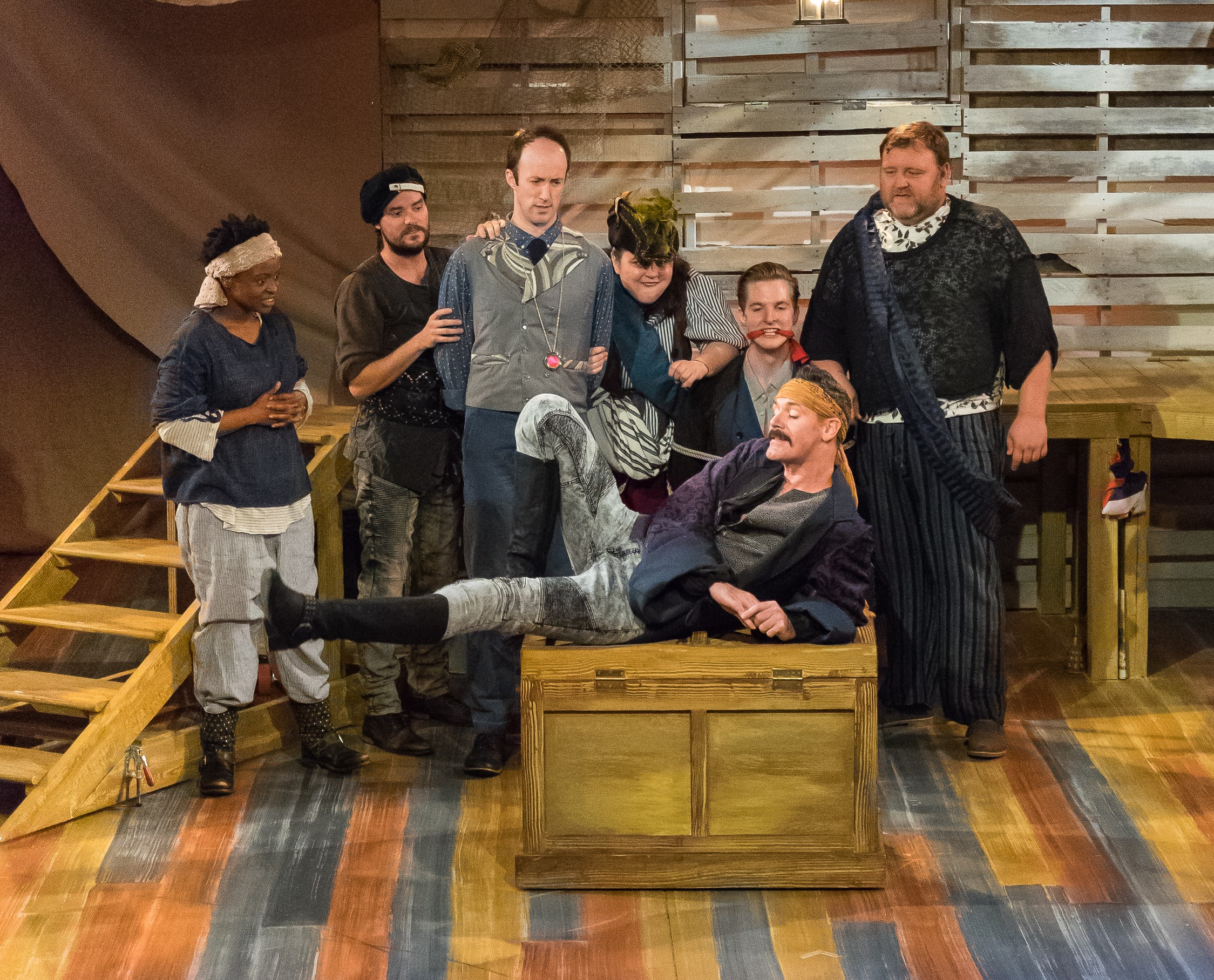 Black Stache (Matthew Quinn, foreground), l. to r.: Smee (Miss Sandra Mhlongo), Slank (Thomas Daniels), Lord Aster (James Patrick Nelson), Mrs. Brumbake (Colleen Welsh), Capt. Robert Falcon Scott (Nicholas Dana Rylands), Alf (James Fairchild)