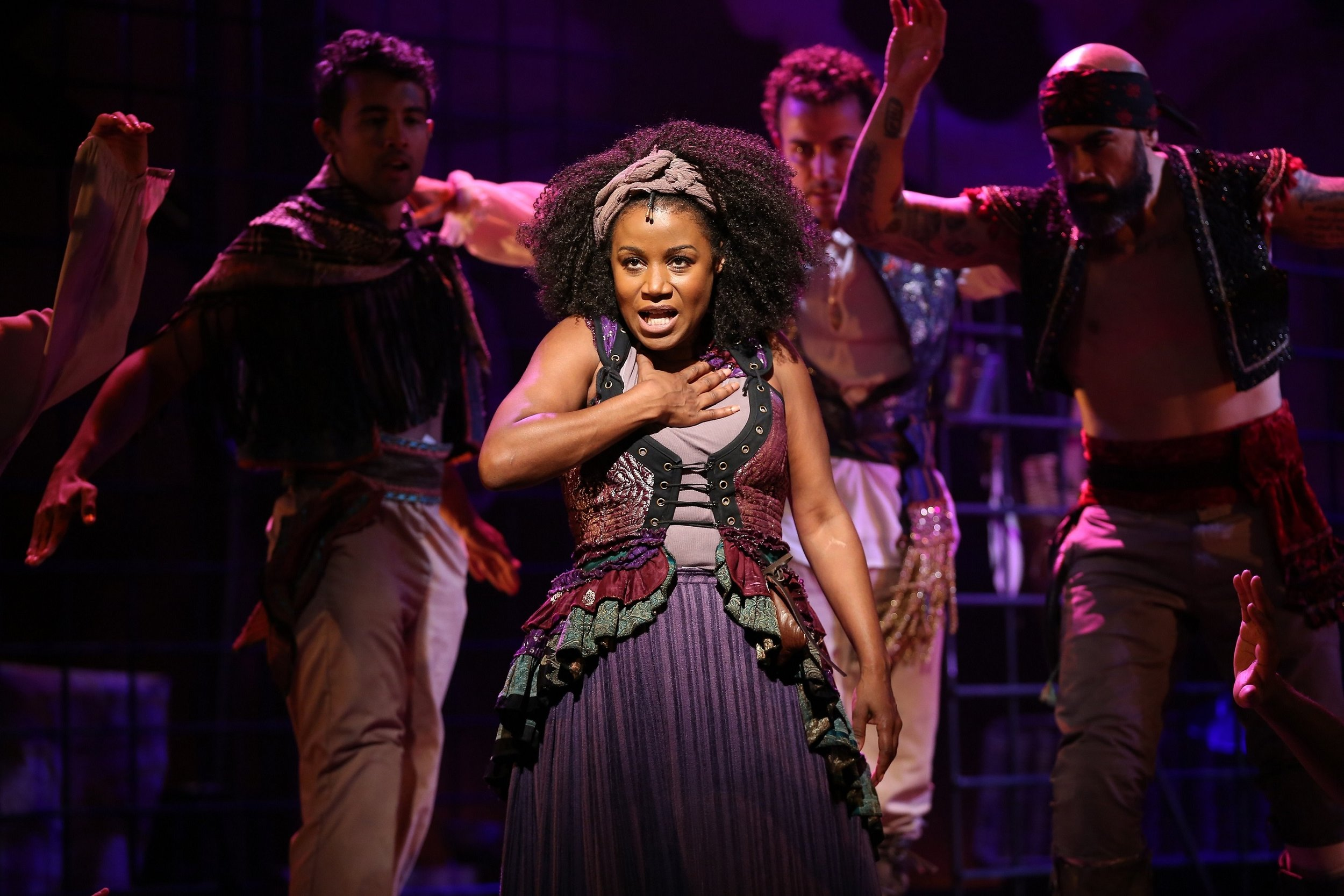 Aldonza (Gisela Adisa) and the cast of Westport Country Playhouse's production of Man of La Mancha