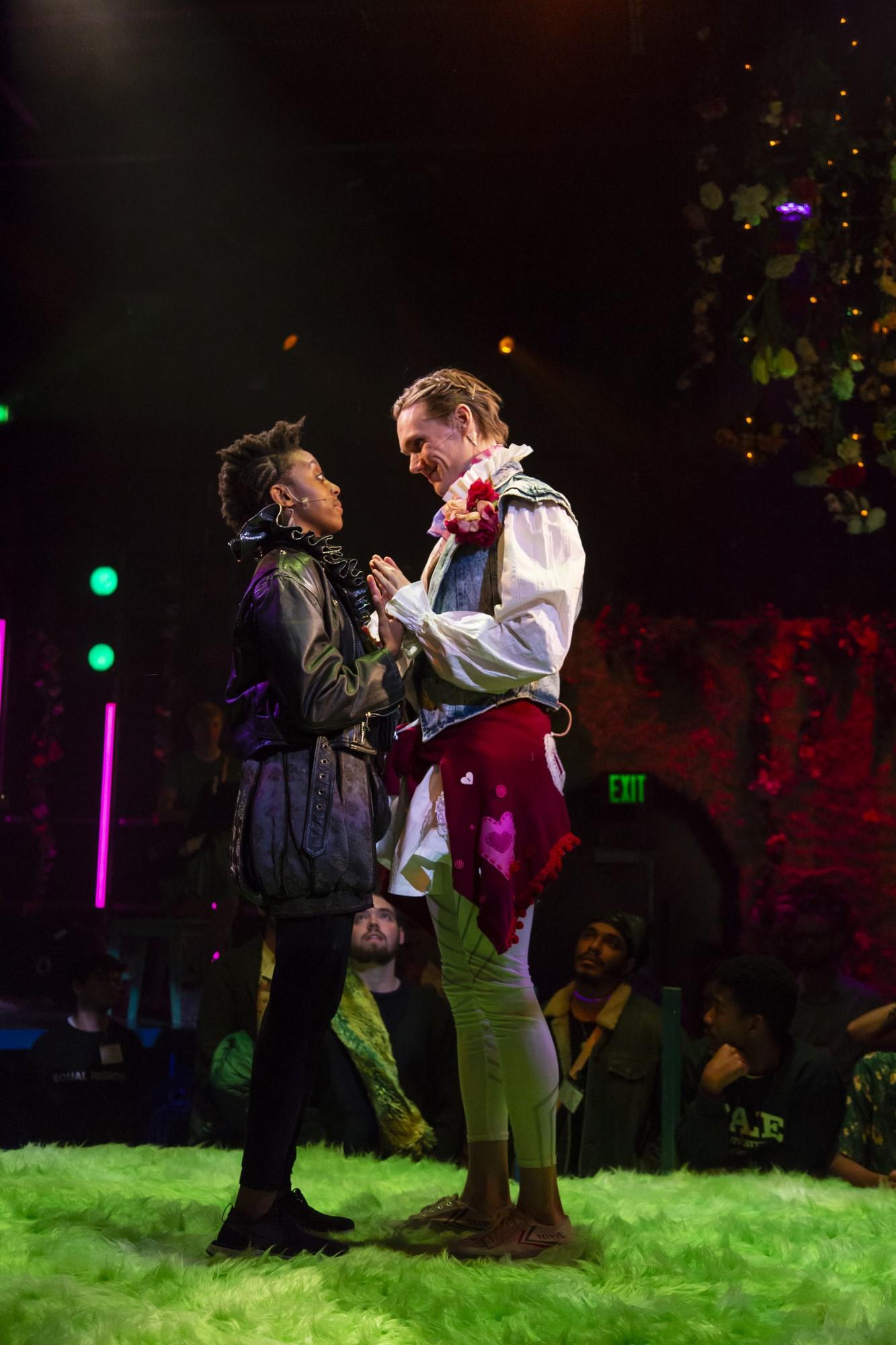 Rosalind as Ganymede (Amandla Jahava), Orlando (Hudson Oznowicz) in  shakespeare's as u like it  adapted by Emma Weinstein and Michael Breslin, directed by Emma Weinstein (Photo by T. Charles Erickson, 2018)