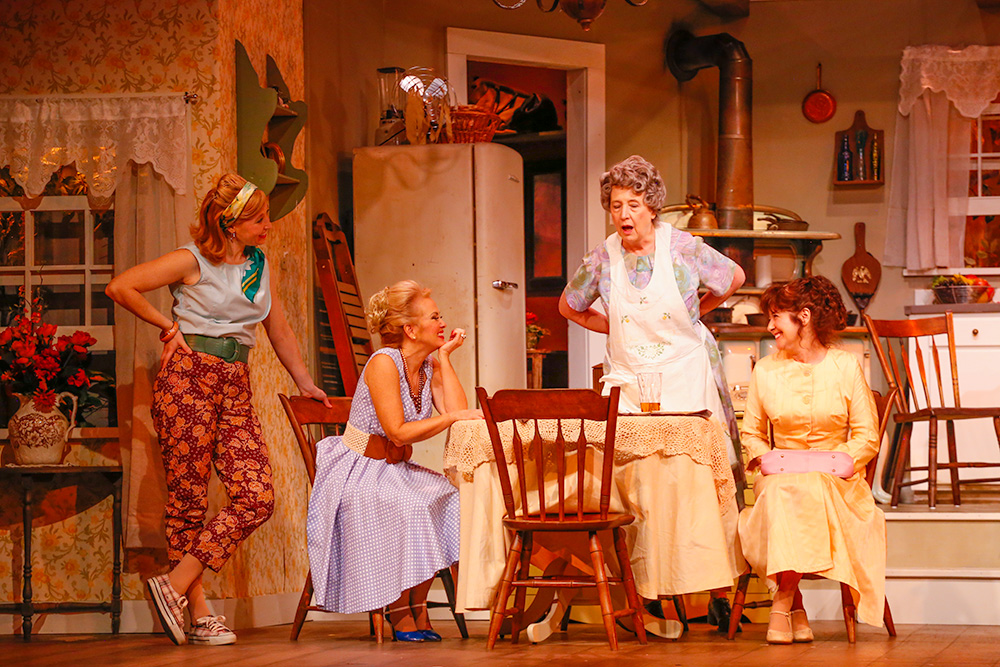 Jean (Jes Bedwineck), Faith (Gerrianne Genga), Ida (Ellen Barry), Fifi (Bonnie Black) in Ivoryton Playhouse's production of The Queens of the Golden Mask (Photographs by Jonathan Steele)