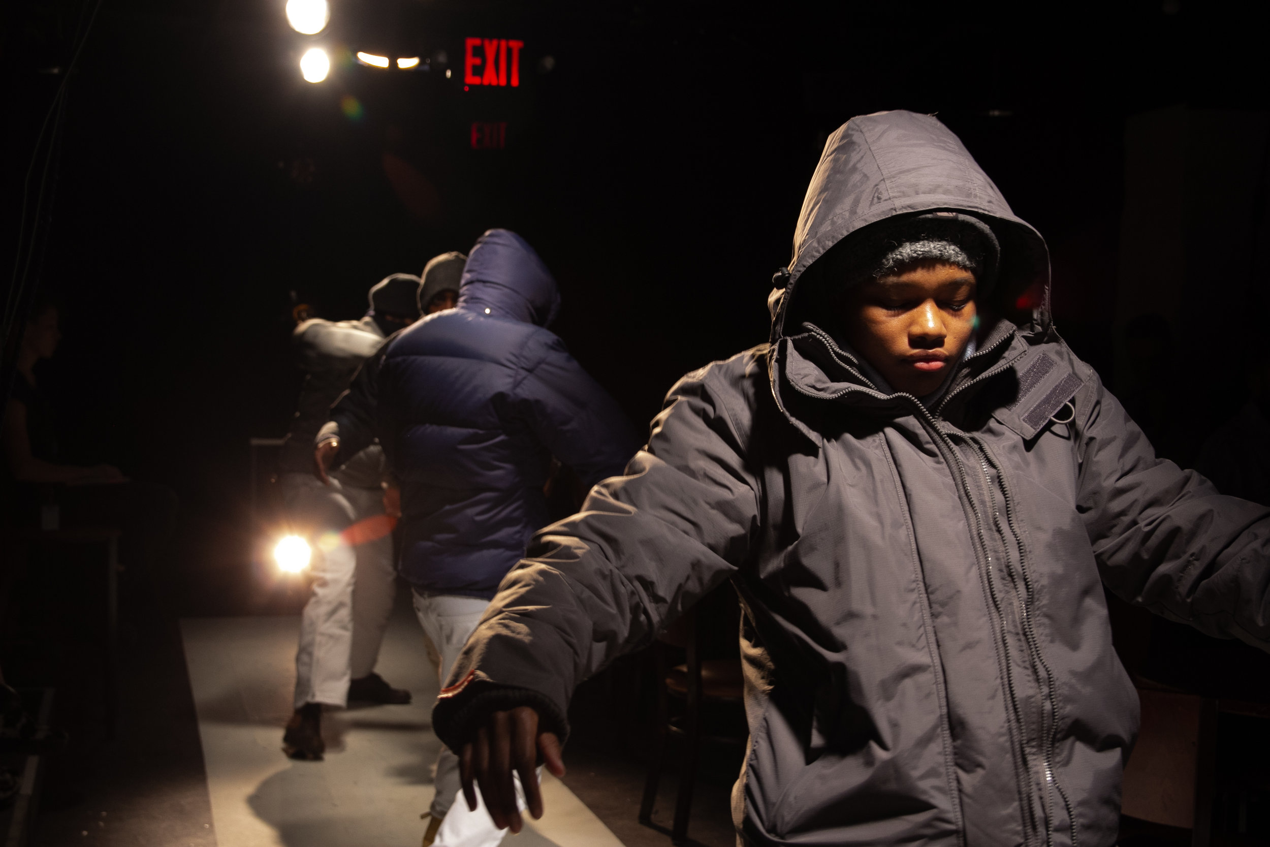 Shamika (Kaylah Gore) and other cast members in Taking Warsan Shire Out of Context on the Eve of the Great Storm (photos by Yaara Bar, courtesy of Yale Cabaret)