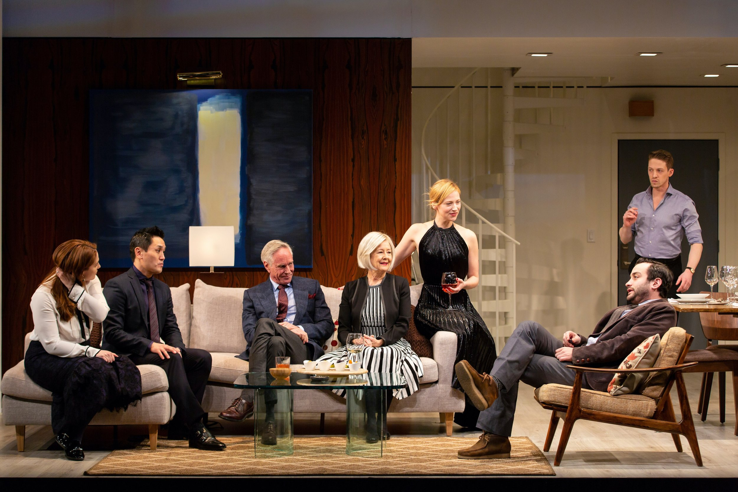Haley (Anne Troup), Kai (Brian Lee Huynh), Conrad (Richard Bekins), Gail (Mia Dillon), Katherine (Beth Riesgraf), Alan (Teddy Bergman), Josh (Zach Appelman) in the world premiere of The Engagement Party at Hartford Stage (photos by T. Charles Erickson)