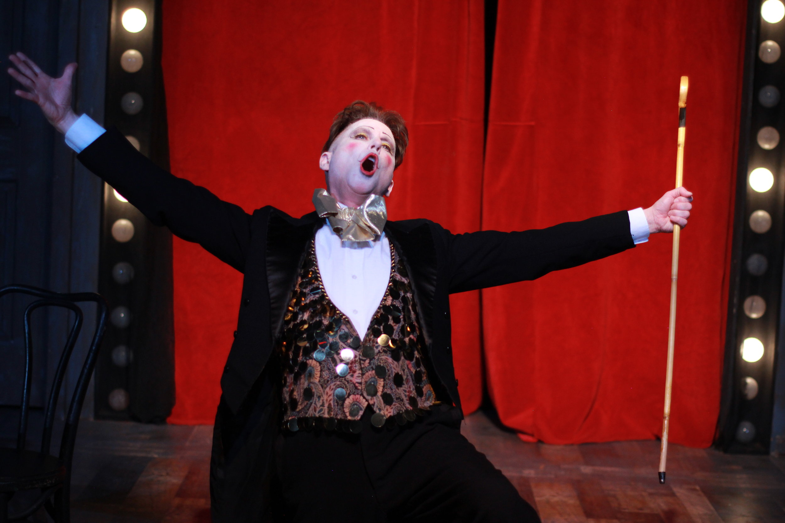 The Emcee (Eric Scott Kincaid) in Music Theatre of Connecticut's Cabaret, directed by Kevin Connors