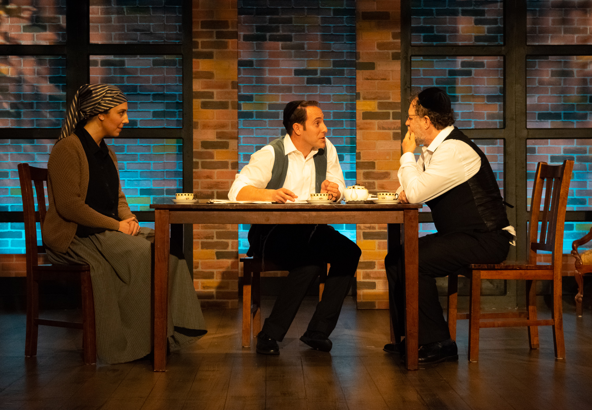 Rivkeh Lev (Stefanie Londino), Asher Lev (Jordan Sobel), Aryeh Lev (Dan Shor) in the Playhouse on Park production of My Name is Asher Lev, directed by Jospeh Discher (photos by Meredith Longo)