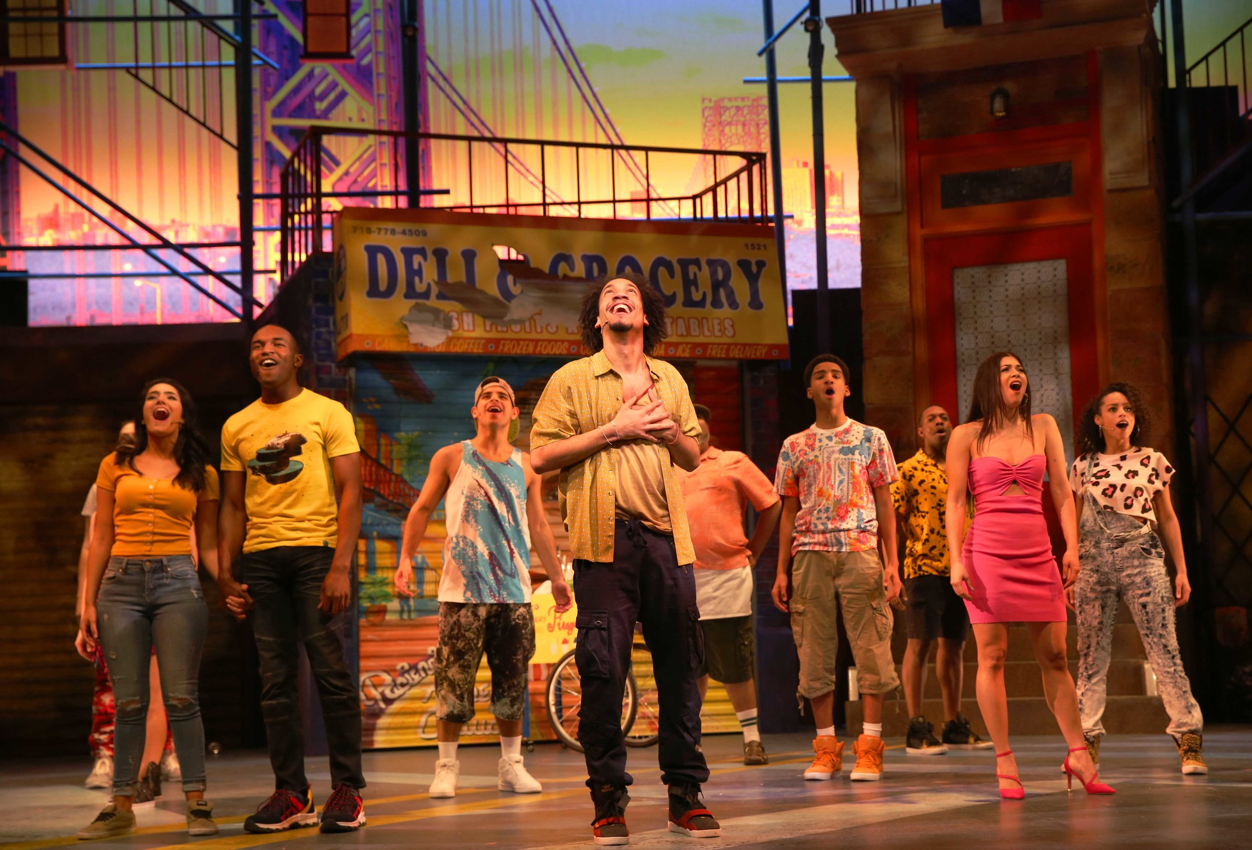 Nina (Didi Romero), Benny (Gerald Caesar), Graffitti Pete (Edward Cuellar), Usnavi (Rodolfo Soto), Piragua Guy (Paul Aguirre), Sonny (Ezequiel Pujols), Ensemble (Randy Castillo), Vanessa (Nina Victoria Negron), and Ensemble (Sarita Colon) in Westport Country Playhouse's production of In the Heights (photo by Carol Rosegg)