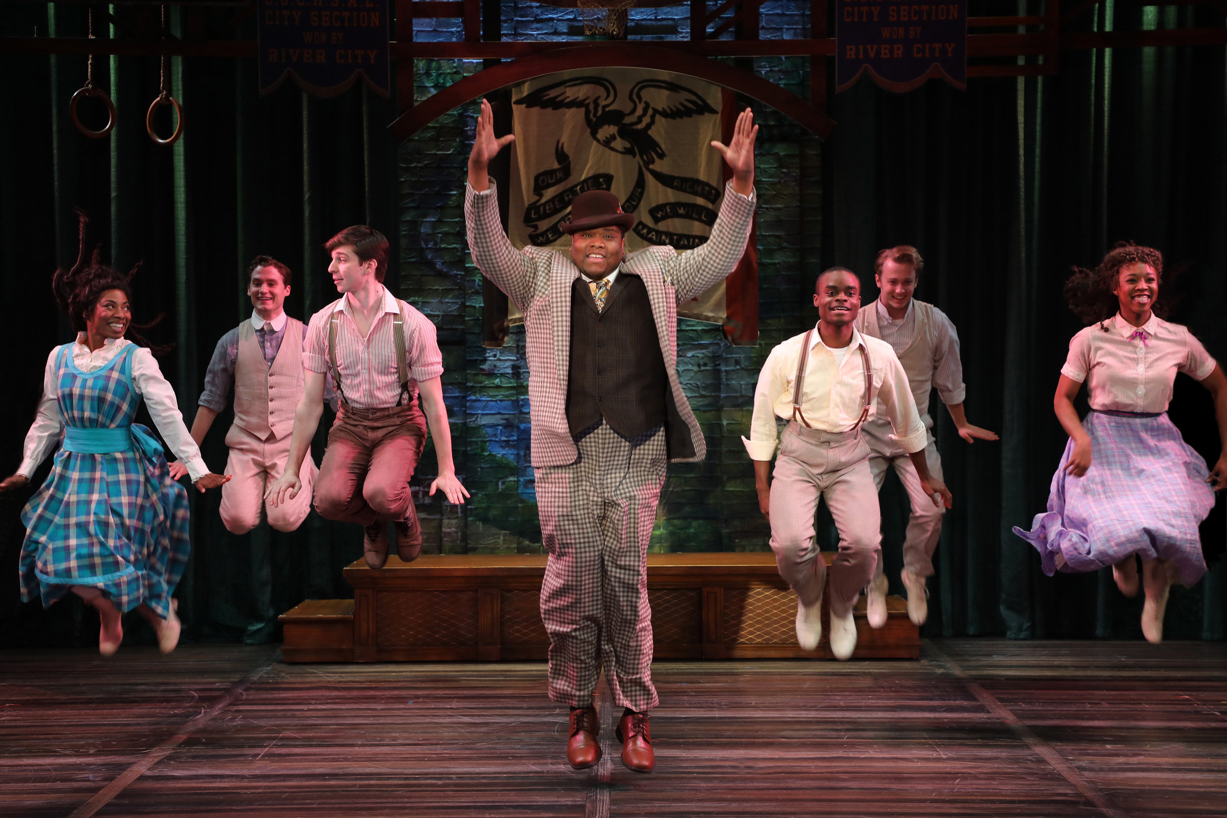 Marcellus Washburn (Juson Williams) and the cast of The Music Man (photo by Diane Sobolewski)