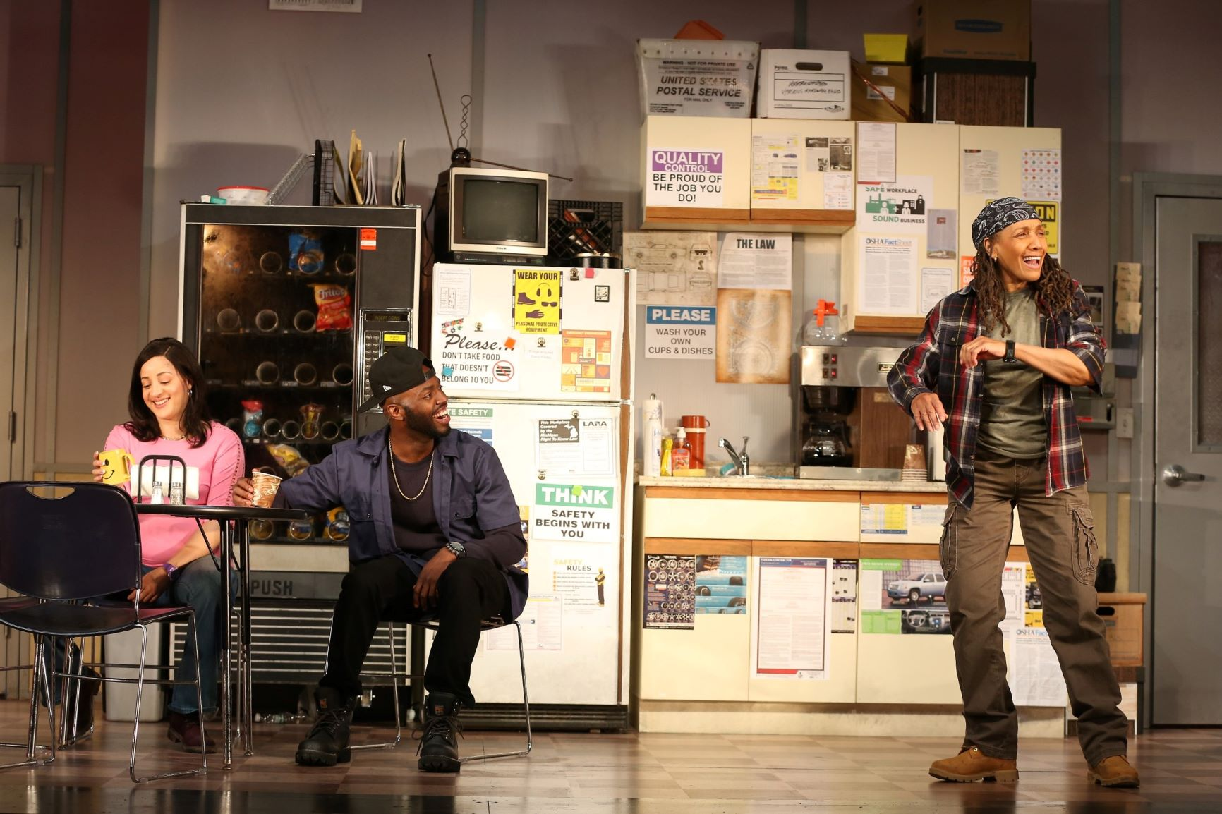 Shanita (Toni Martin), Dez (Leland Fowler), Faye (Perri Gaffney) in Westport Country Playhouse's production of Skeleton Crew (photo by Carol Rosegg)