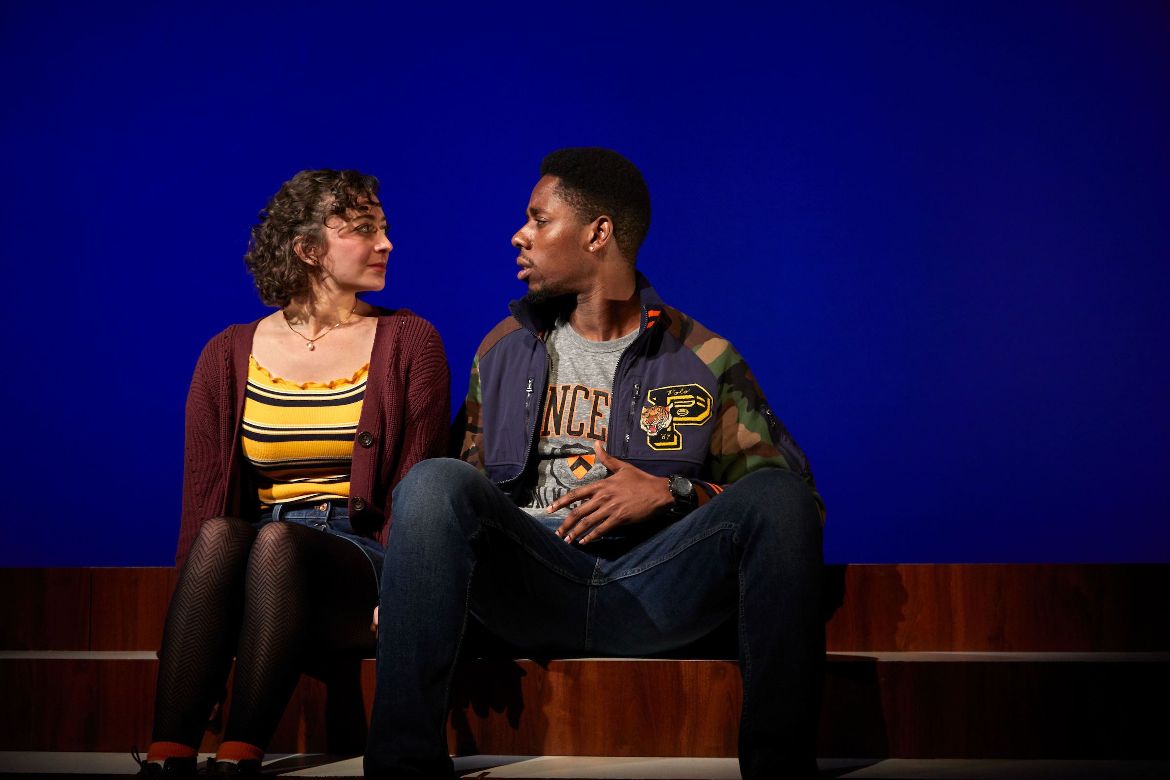 Amber (Arielle Siegel), Tom (Ronald Emile) in TheaterWorks' production of Actually (Photos courtesy of TheaterWorks)