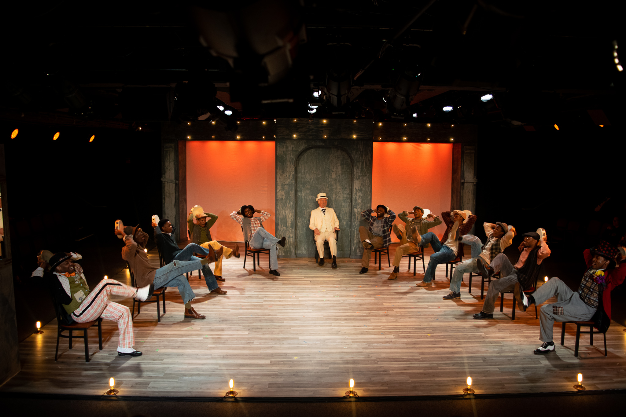 The cast of Playhouse on Park's production of The Scottsboro Boys, directed by Sean Harris (Photographs by Meredith Longo)