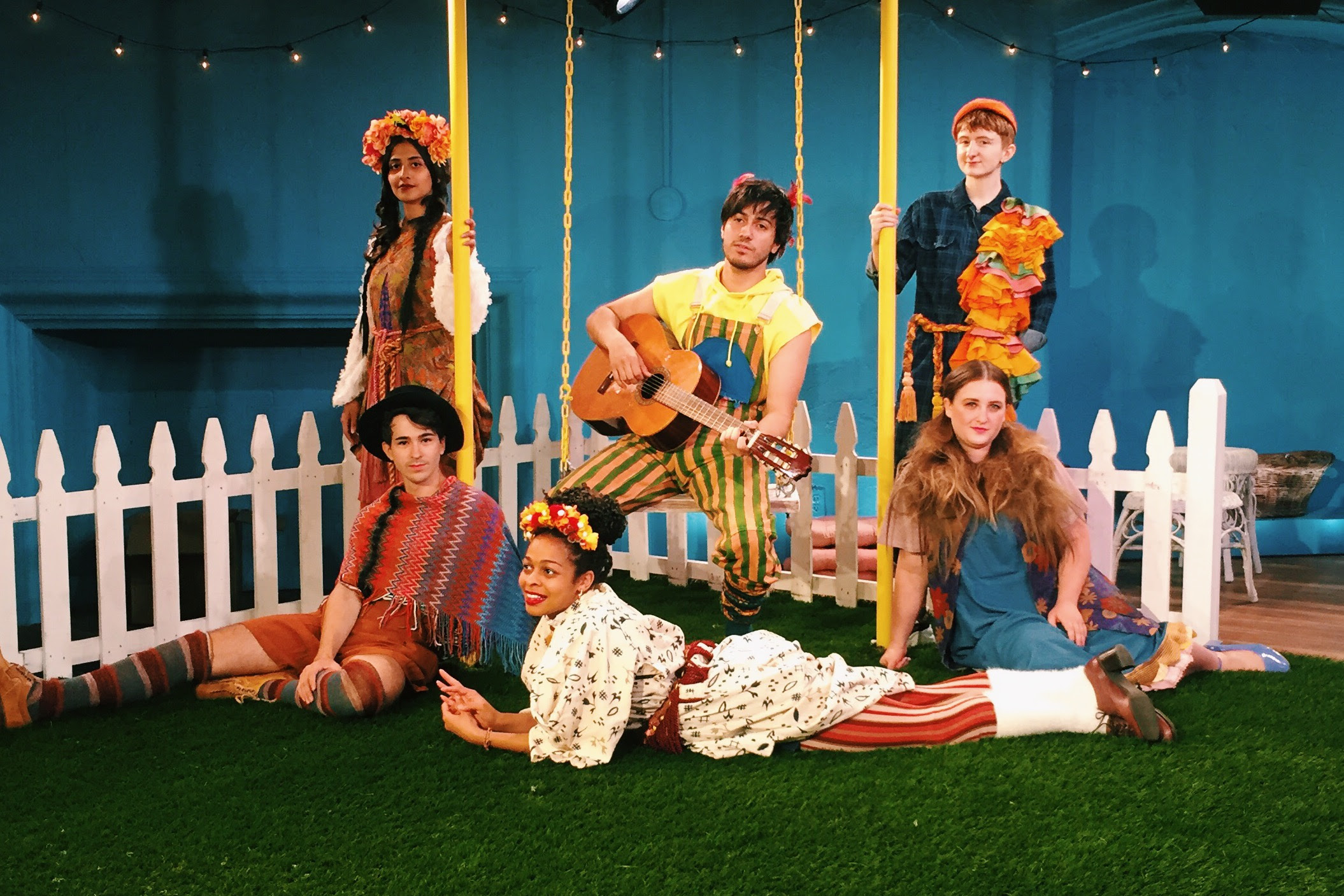 The Cast of The Swallow and the Tomcat (front: Julian Sanchez, Adrienne Wells, Zoe Mann; rear: Anula Navlekar, Dario Ladani Sanchez, Reed Northrup); Set: Elsa GibsonBraden; Costumes: Stephanie Bahniuk; Lighting: Evan Anderson