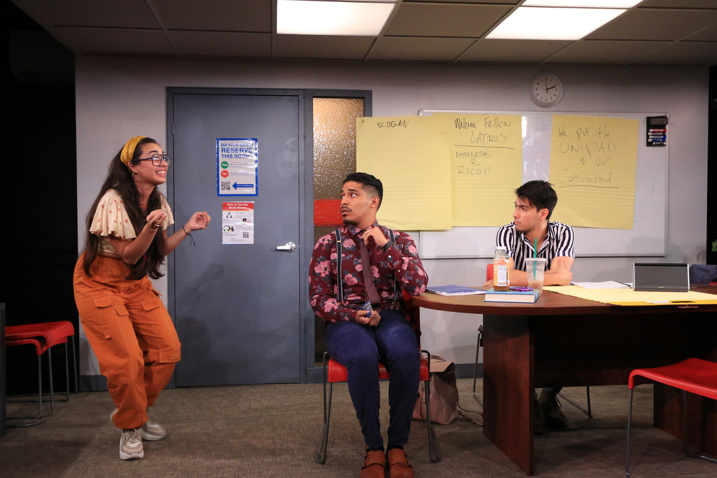 Monica (Jackeline Torres Cortés), Xavier (Robert Lee Hart), Isaac (Dario Ladani Sanchez) in Latinos Who Look Like Ricky Martin, Yale Summer Cabaret