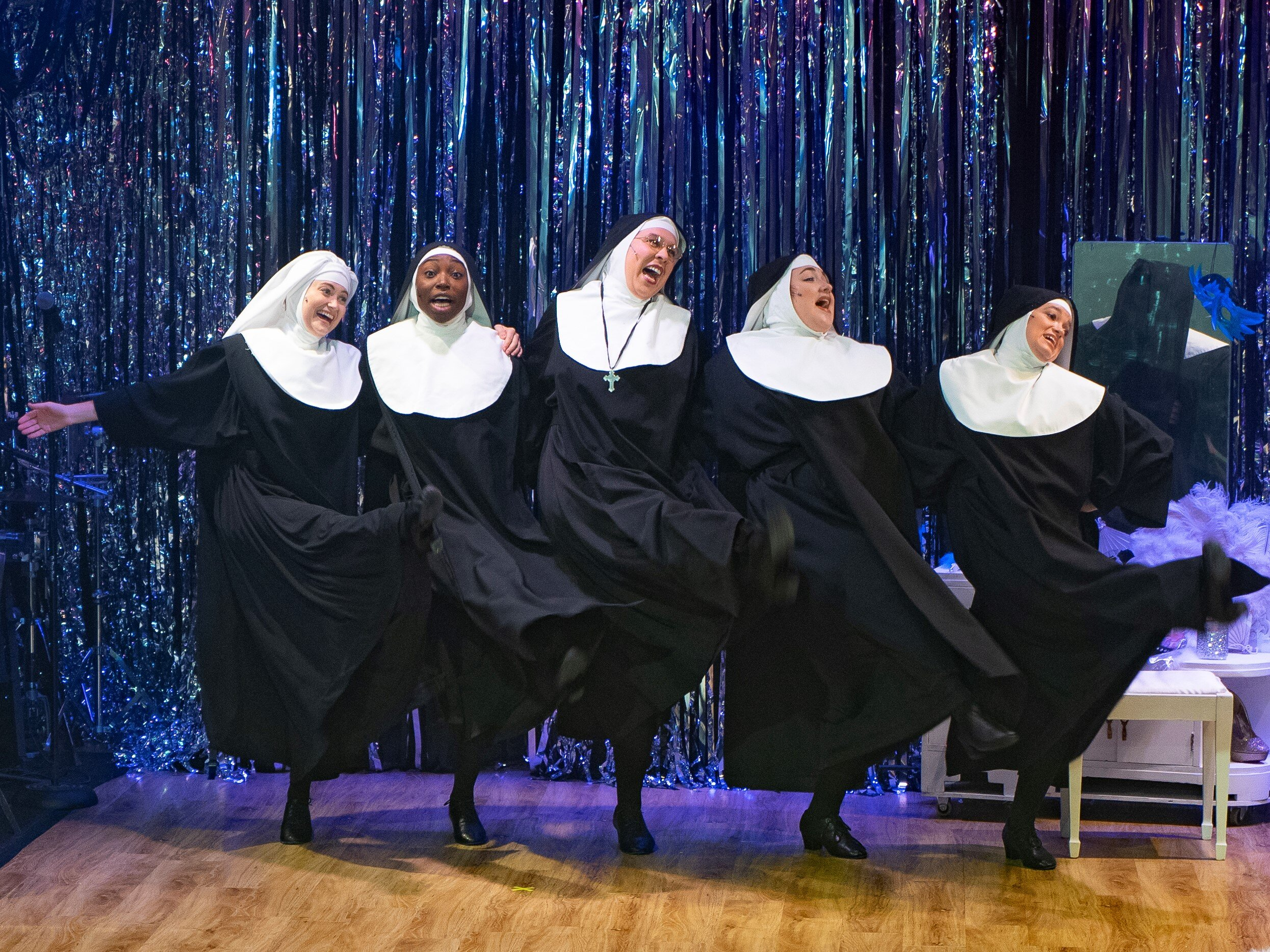 Sister Mary Leo (Rachel Oremland), Sister Mary Hubert (Brandi Porter), Sister Mary Regina (Amanda Forker), Sister Robert Anne (Lily Dickinson), Sister Mary Amnesia (Hillary Ekwall) in Playhouse on Park's Nunsense, directed by Darlene Zoller (photos by Rich Wagner)
