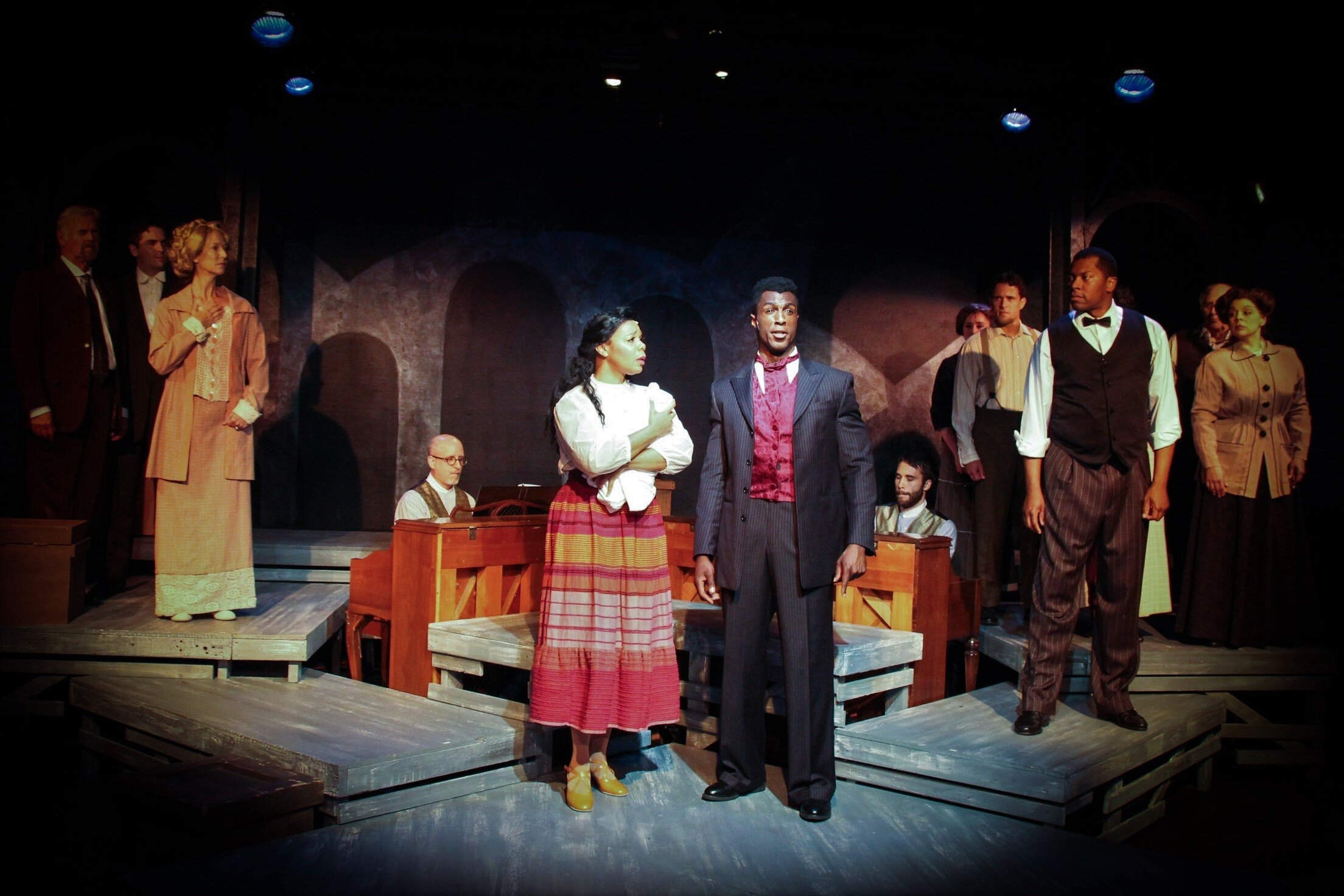 Sarah (Soara-Joye Ross), Coalhouse Walker, Jr. (Ezekiel Andrew), center, and the cast of  Ragtime