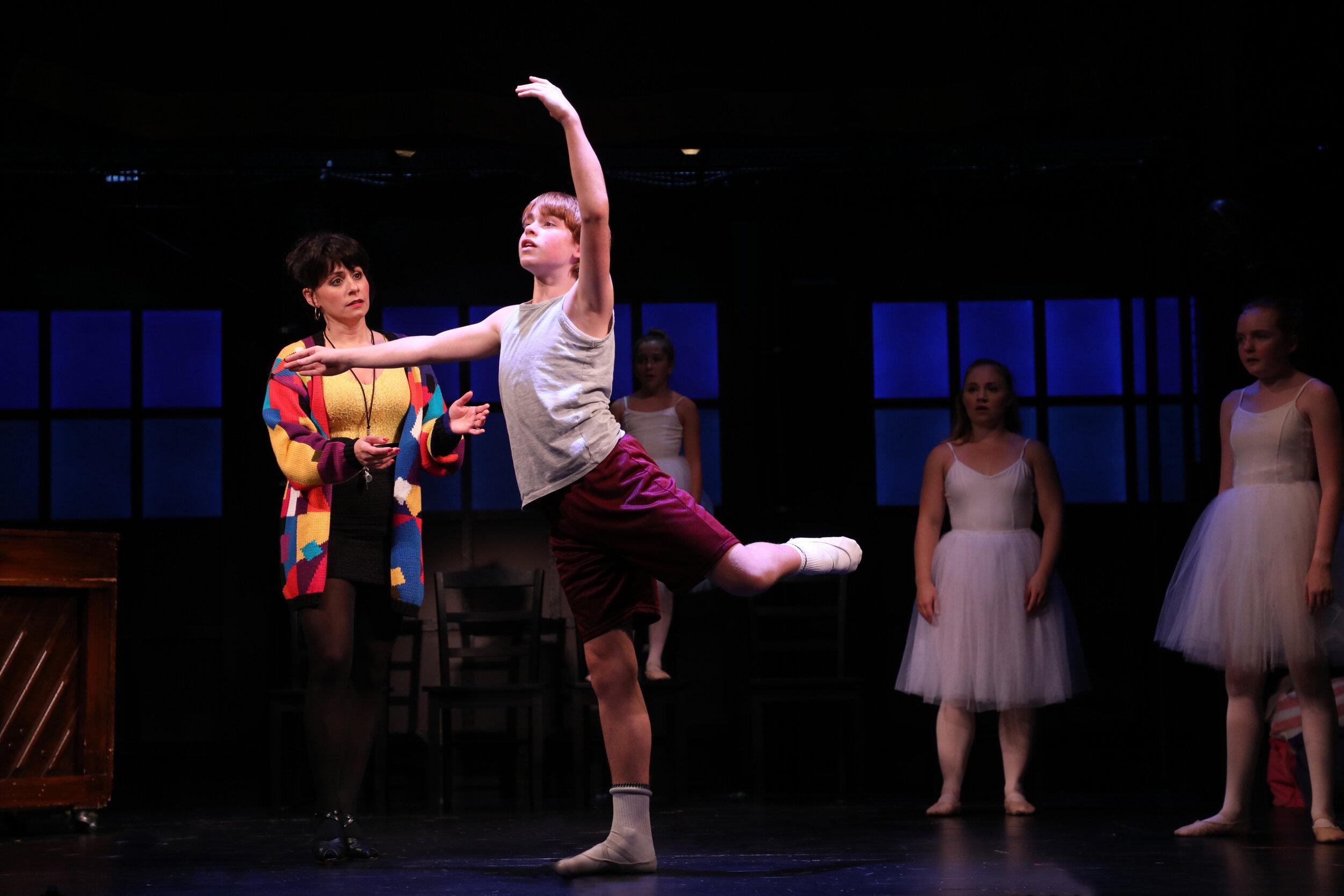 Mrs. Wilkinson (Michelle Aravena), Billy Elliot (Liam Vincent Hutt) with the cast of Goodspeed Musicals'  Billy Elliot The Musical . Photo by Diane Sobolewski