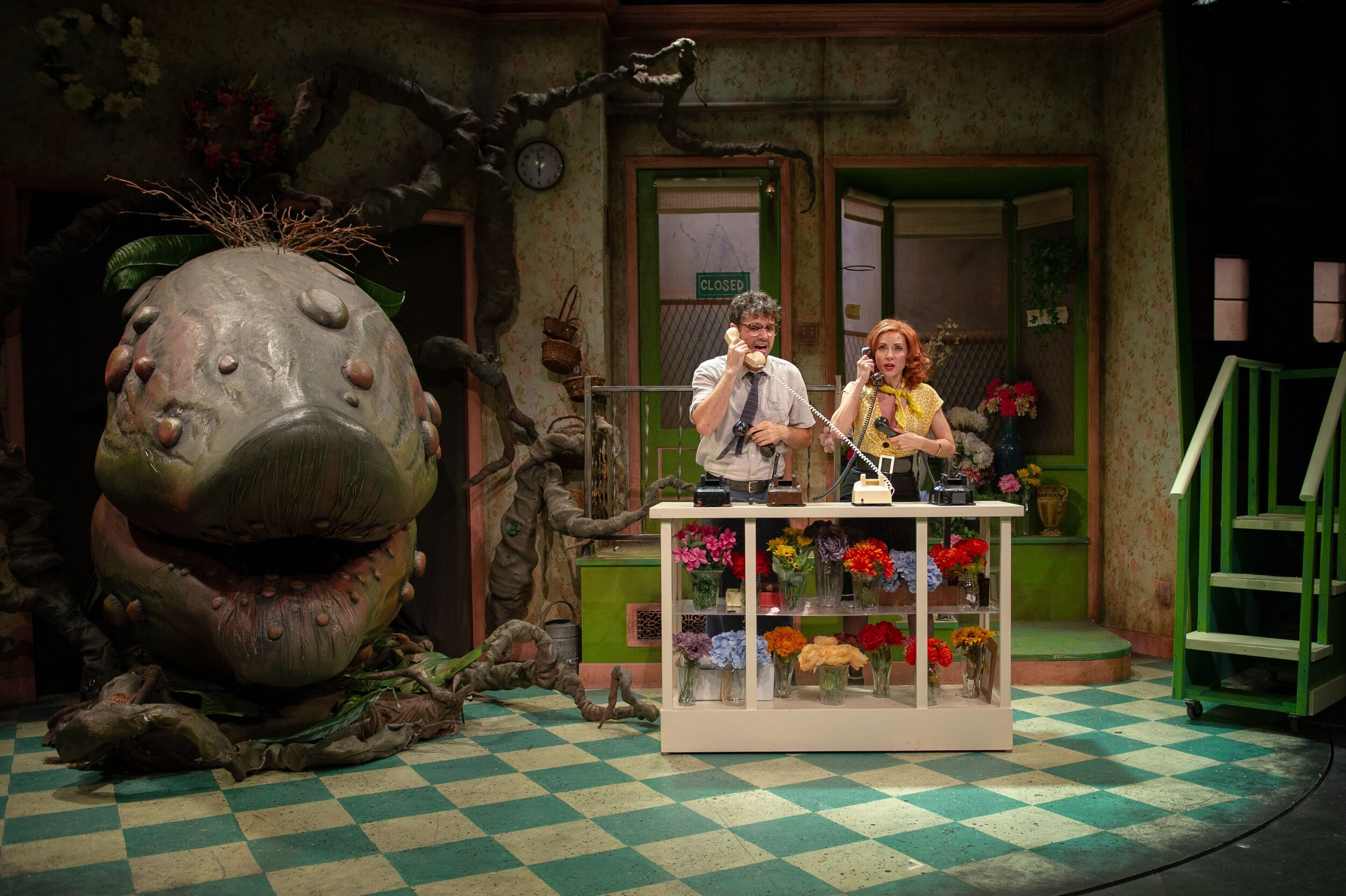 Audrey II, Seymour (Robb Sapp), Audrey (Laura Woyasz) in ACT's production of  Little Shop of Horrors