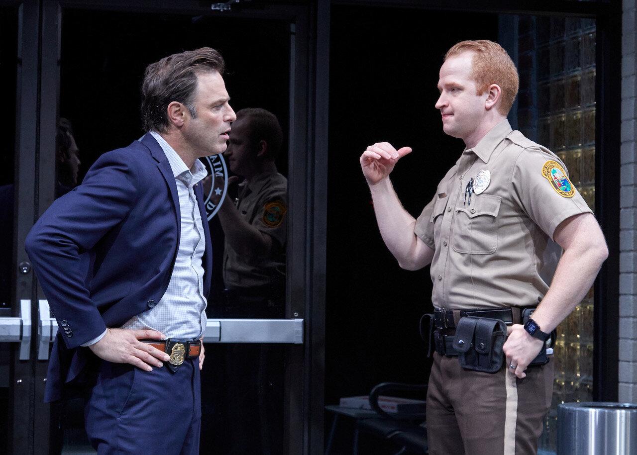 Scott Connor (J Anthony Crane), Officer Paul Larkin (John Ford-Dunker) in  American Son , TheaterWorks (photo by Lanny Nagler)