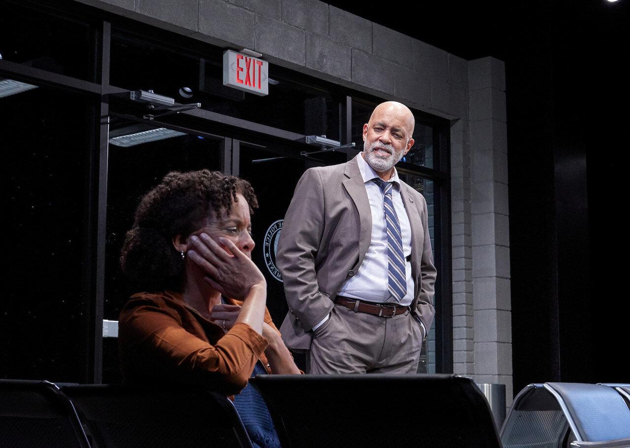 Kendra Ellis-Connor (Ami Brabson), Lieutenant John Stokes (Michael Genet) in  American Son , TheaterWorks (photo by Lanny Nagler)
