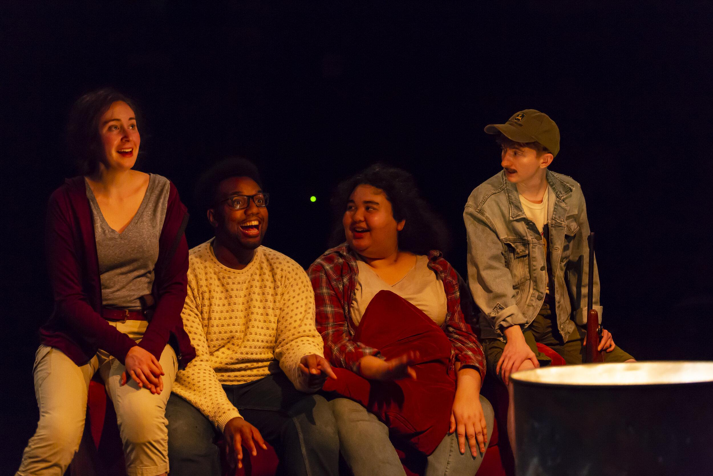 Jenny (Madeline Seidman), Matt IAnthony Holiday), Maria (Ilia Isorelýs Paulino), Sam (Reed Northrup) in Yale School of Drama's production of Mr Burns by Anne Washburn, directed by Kat Yen (photo by T. Charles Erickson)