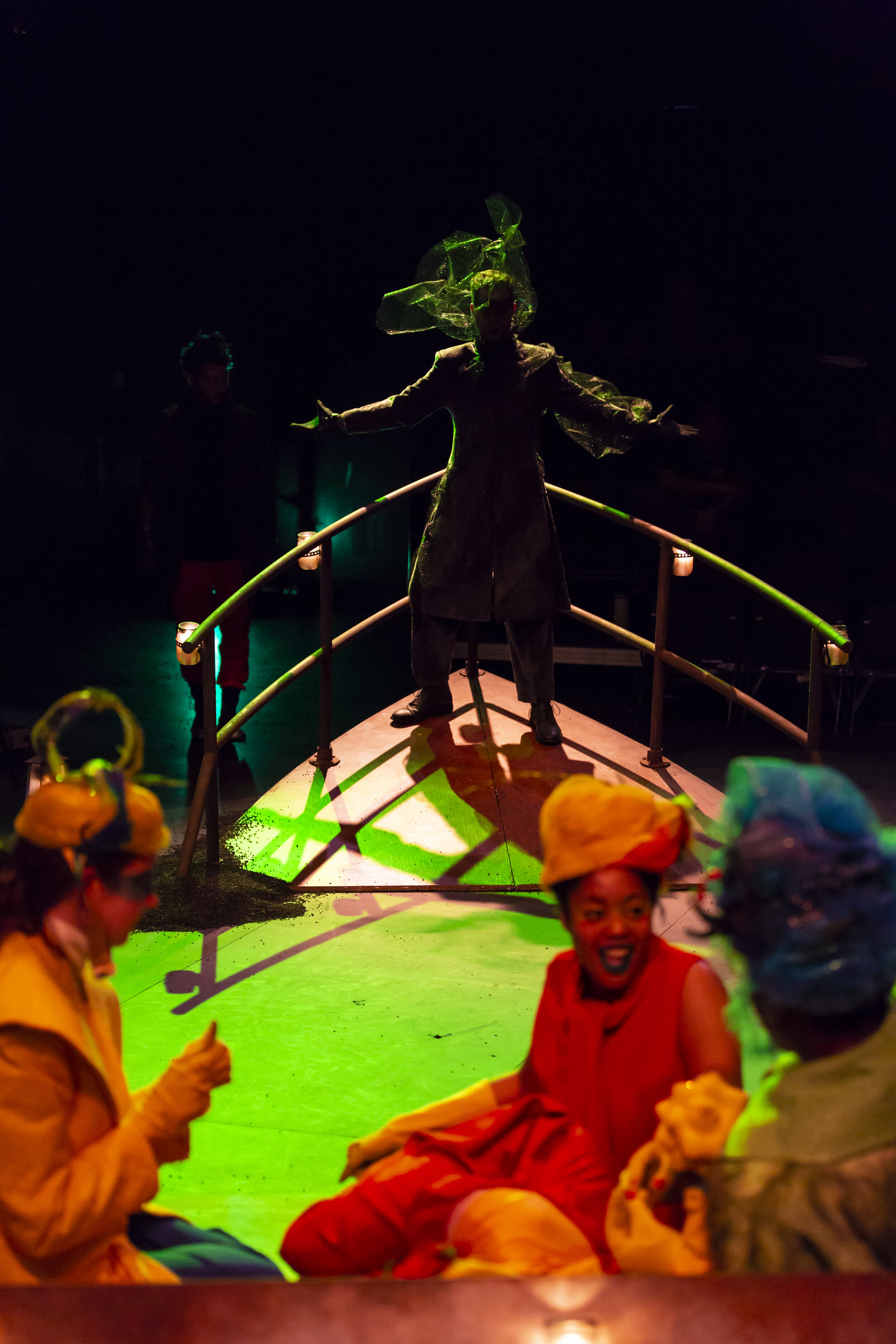 Mr Burns (John Evans Reese), background; Homer (Madeline Seidman), Bart (Ciara Monique), Marge (Anthony Holiday), foreground in Yale School of Drama production of Mr. Burns (photo by T. Charles Erickson)