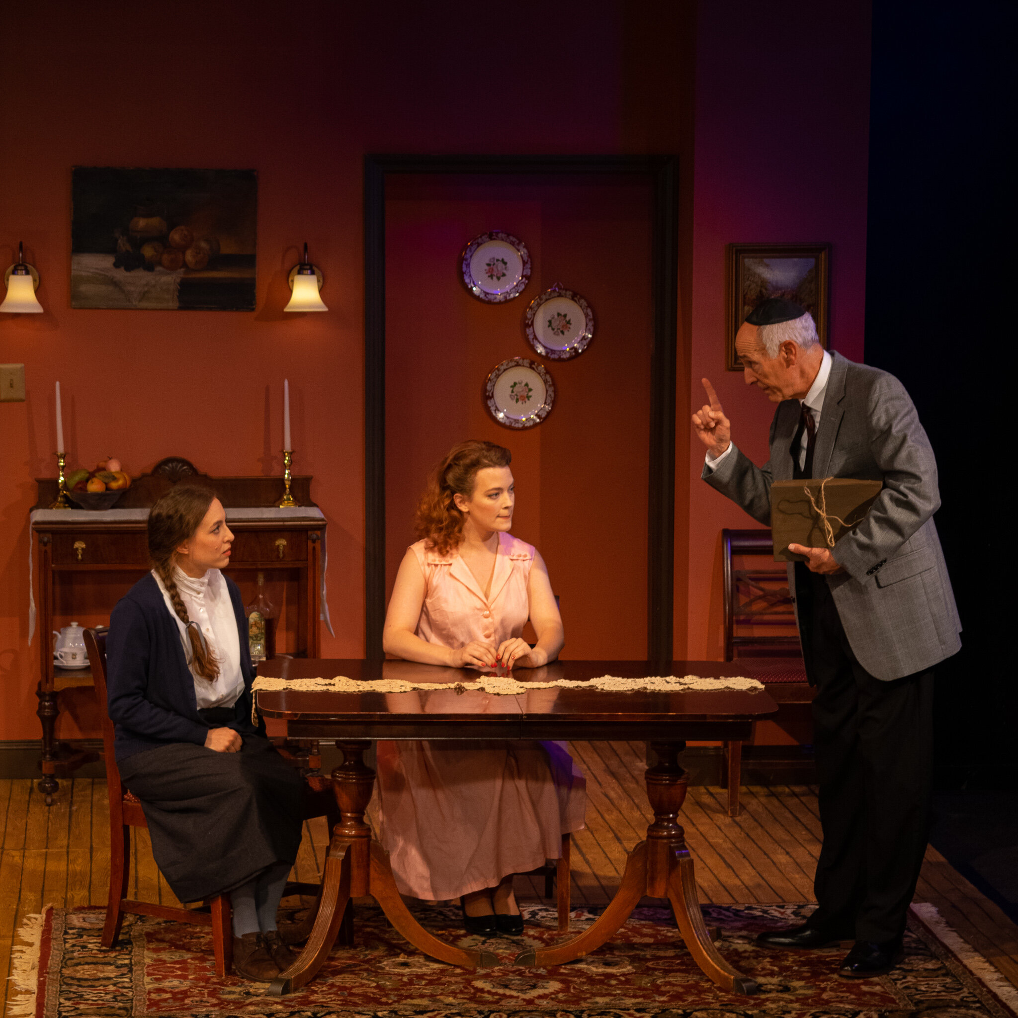 Lusia Pechenik (Katharina Schmidt), Rose Weiss (Laura Sudduth), Mordechai Weiss (Mitch Greenberg) in Playhouse on Park's production of Barbara Lebow's A Shayna Maidel (photo by Meredith Longo)