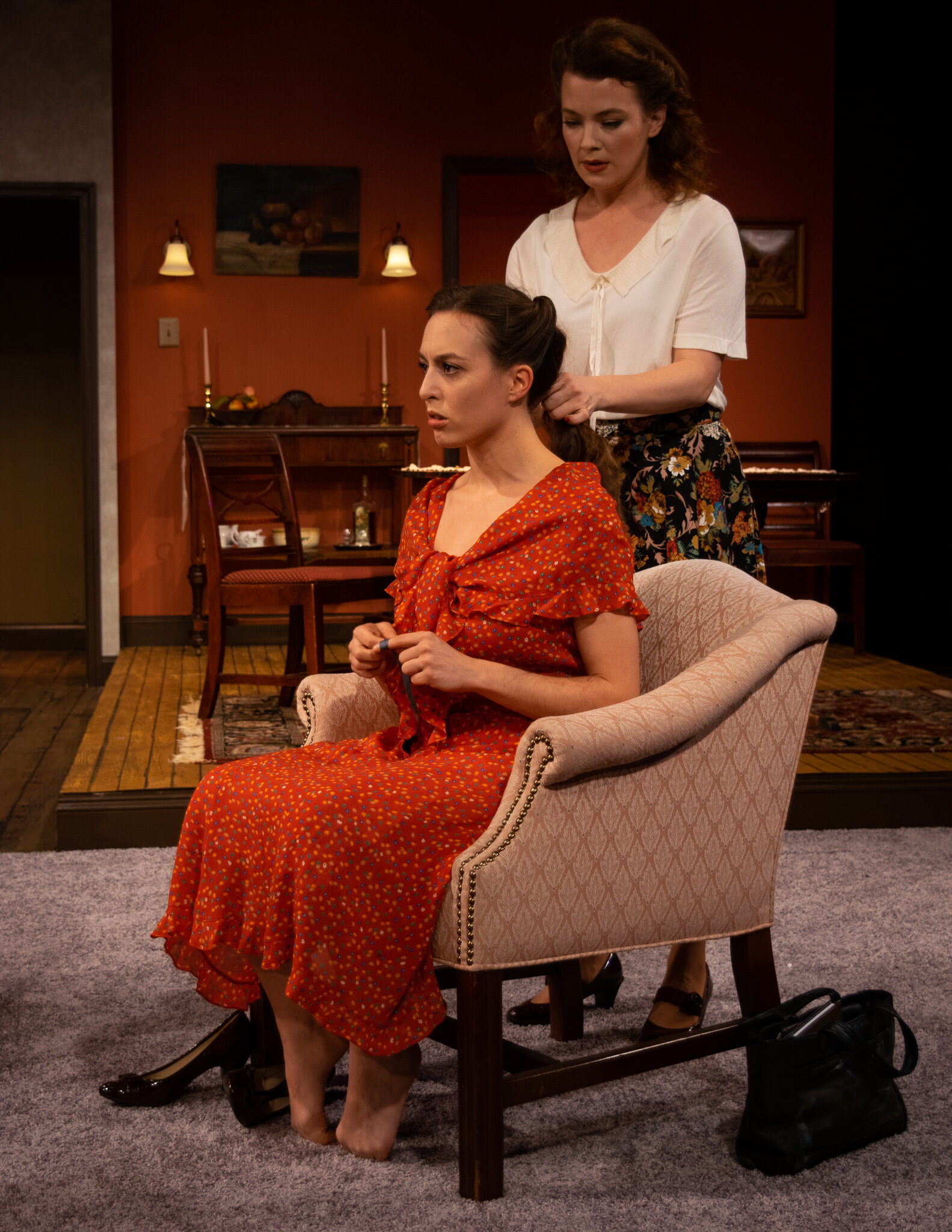 Lusia Pechenik (Katharina Schmidt), seated, Rose Weiss (Laura Sudduth), standing in A Shayna Maidel at Playhouse on Park (photo by Meredith Longo)