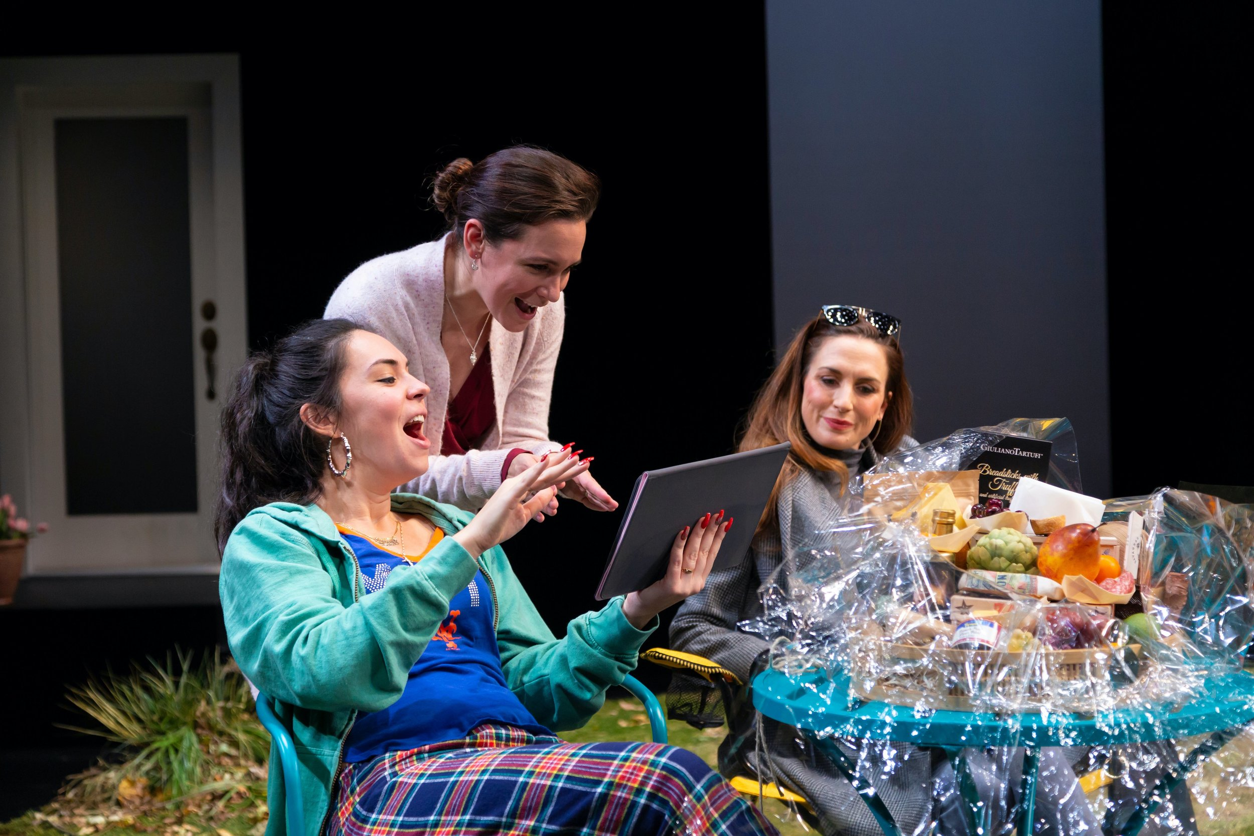 Lina (Evelyn Spahr), Jessie (Rachel Spencer Hewitt), Adrienne (Caroline Kinsolving) in Hartford Stage's production of Cry It Out (photo by T. Charles Erickson)