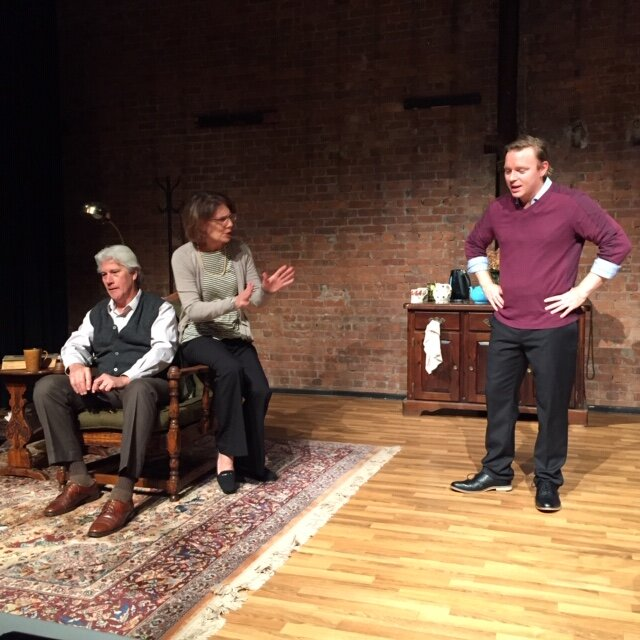 Edward (George Kulp), Alice (Susan Kulp), Jamie (Kiel Stango) in New Haven Theater Company's production of The Retreat from Moscow, directed by Margaret Mann & John Watson