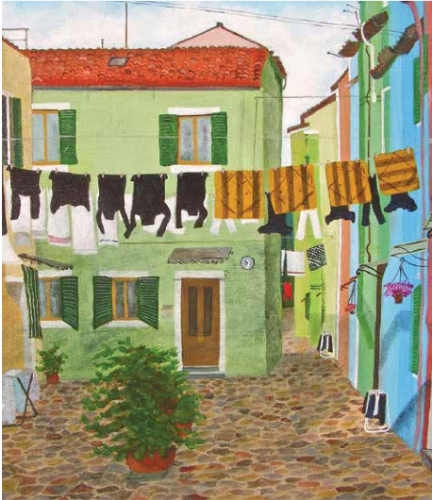 Laundry day on Burano: Green courtyard, striped cushions