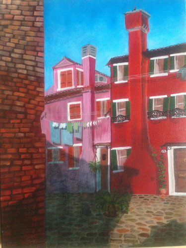 Laundry day on Burano - Pink shadows