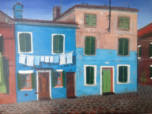 Laundry day on Burano - Bleached blue
