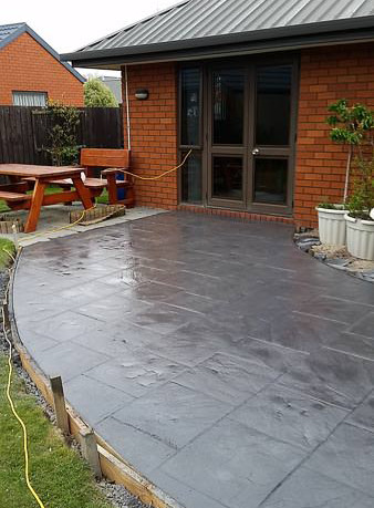 Stamped wet look concrete patio