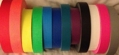 Gaffer tapes: red, orange, neon yellow, neon green, neon blue, dark blue, teal, purple, black, white, pink and gray.